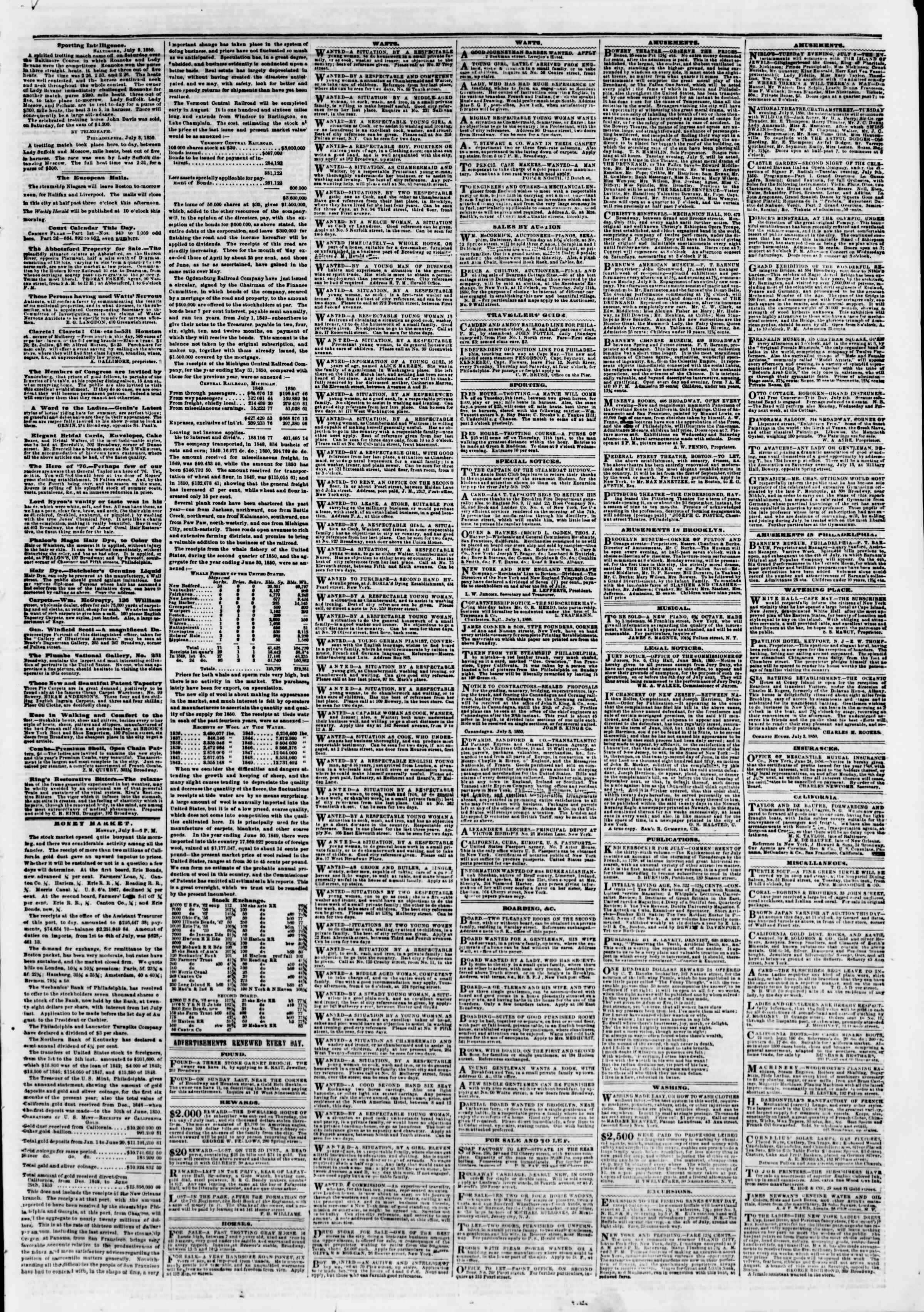 Newspaper of The New York Herald dated July 9, 1850 Page 5