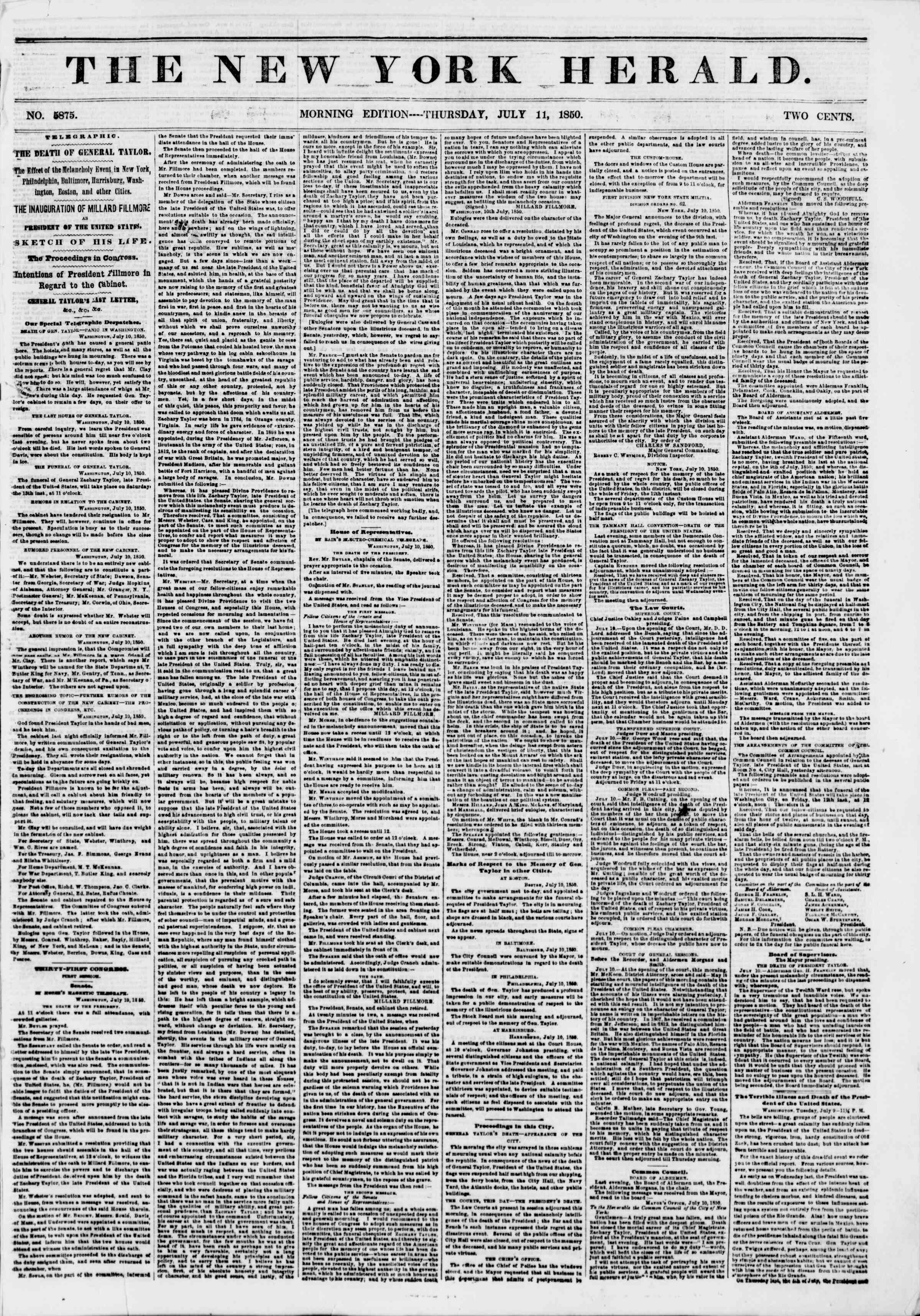 Newspaper of The New York Herald dated July 11, 1850 Page 1