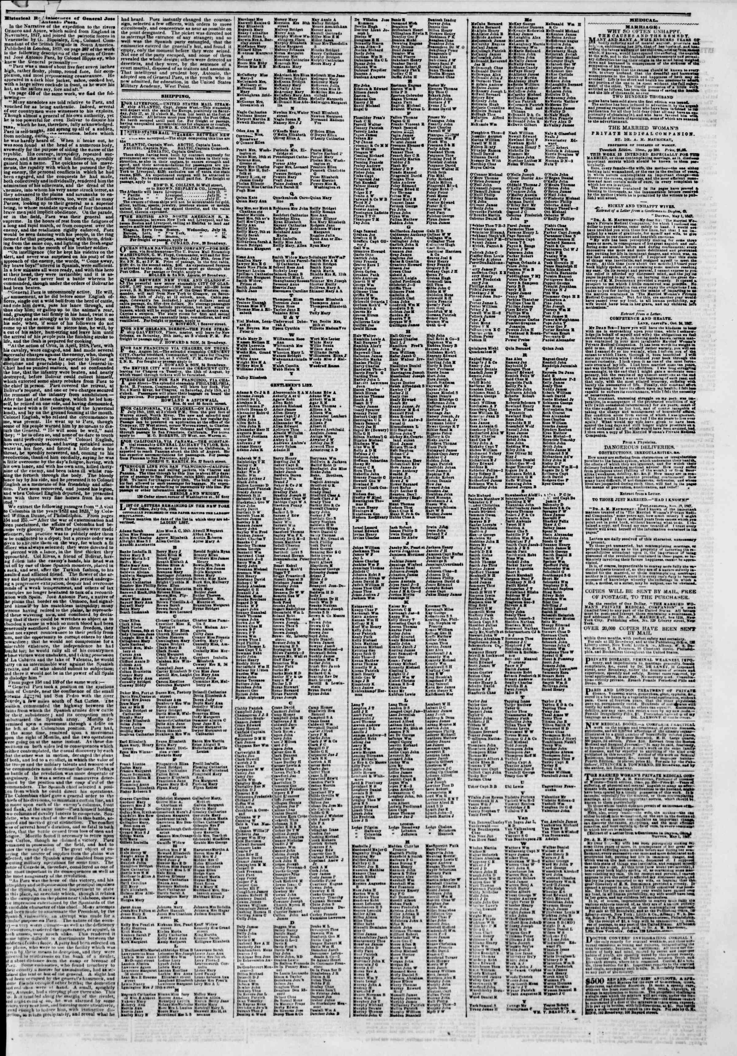 Newspaper of The New York Herald dated July 12, 1850 Page 7