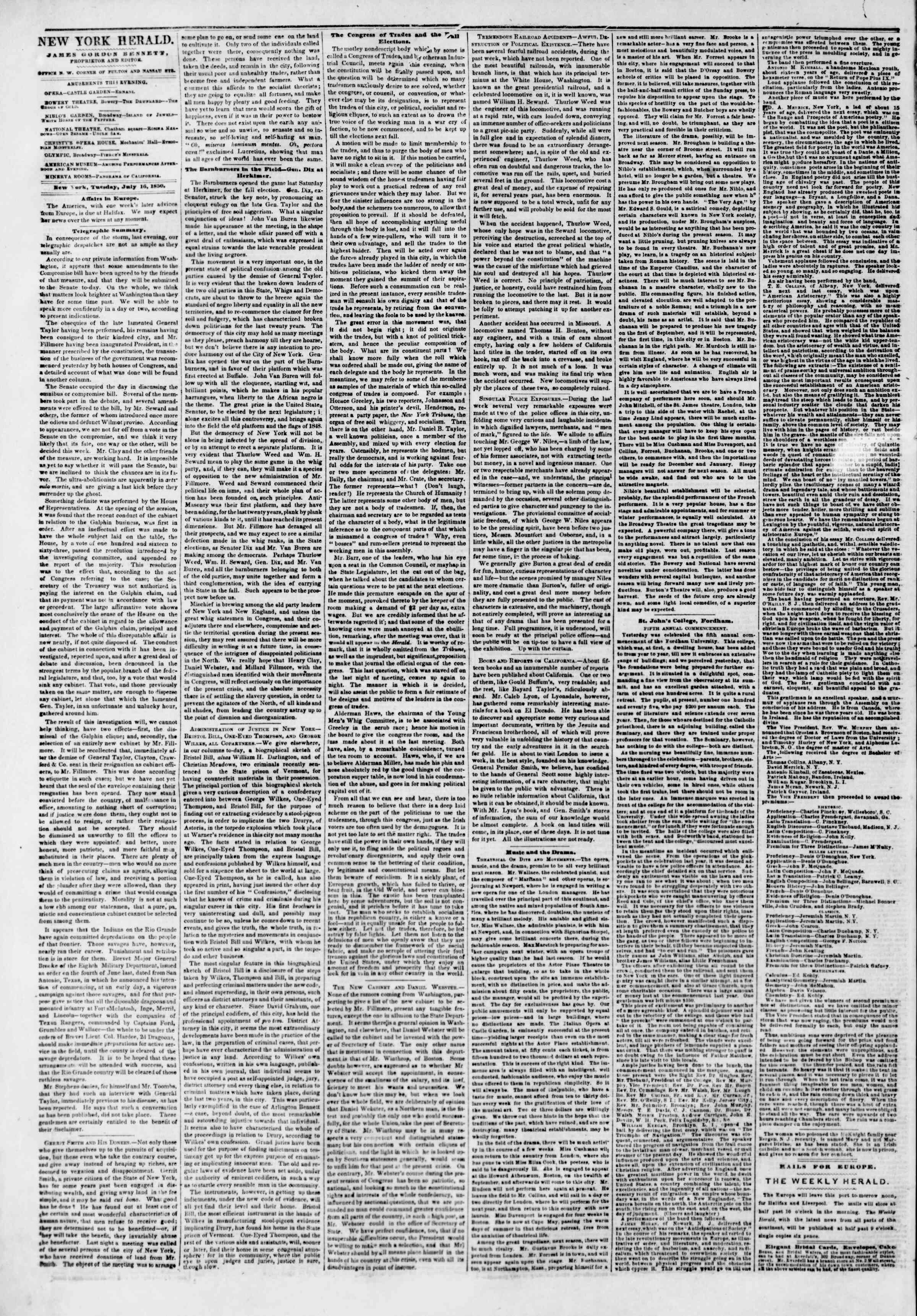Newspaper of The New York Herald dated July 16, 1850 Page 2