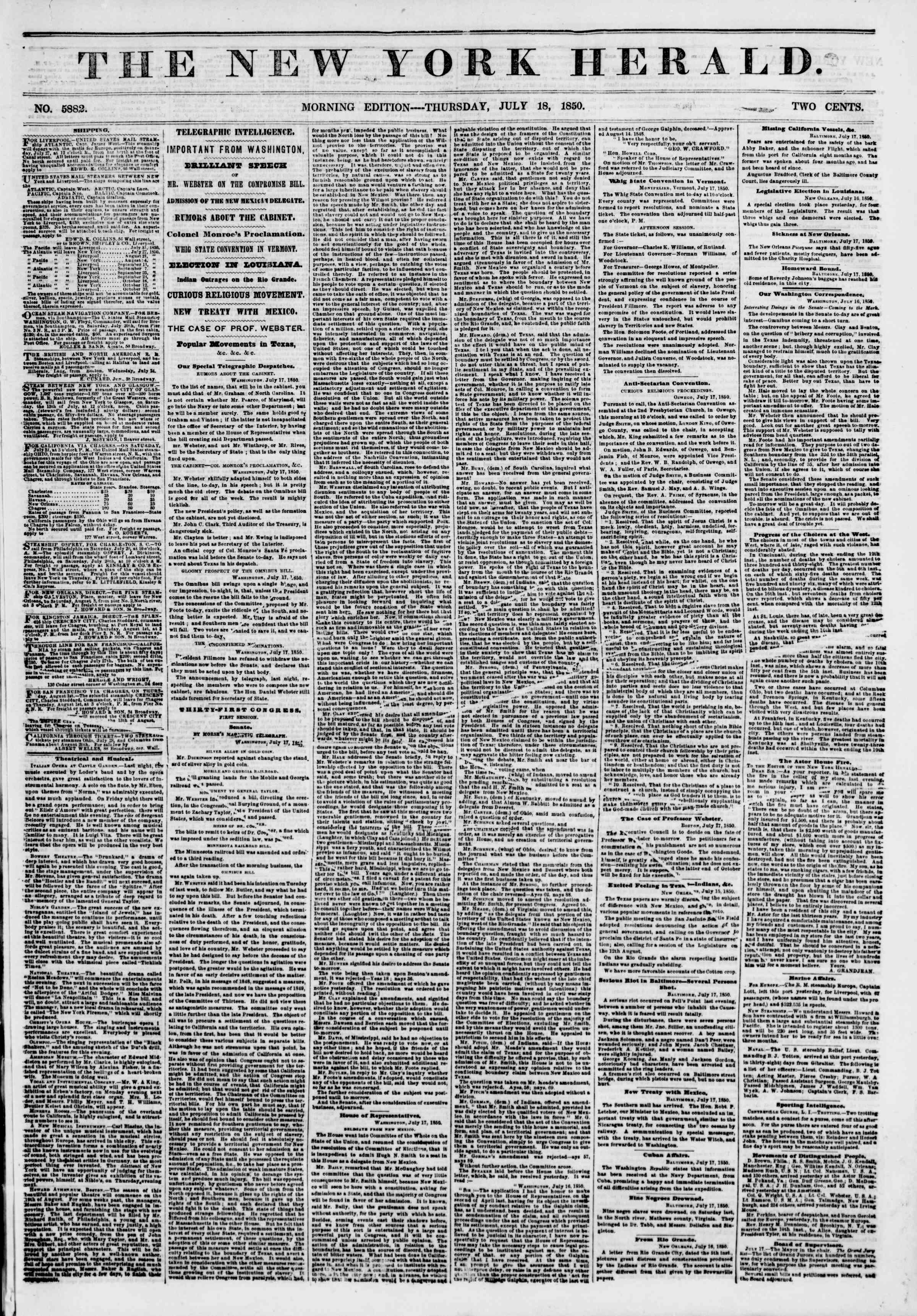 Newspaper of The New York Herald dated July 18, 1850 Page 1