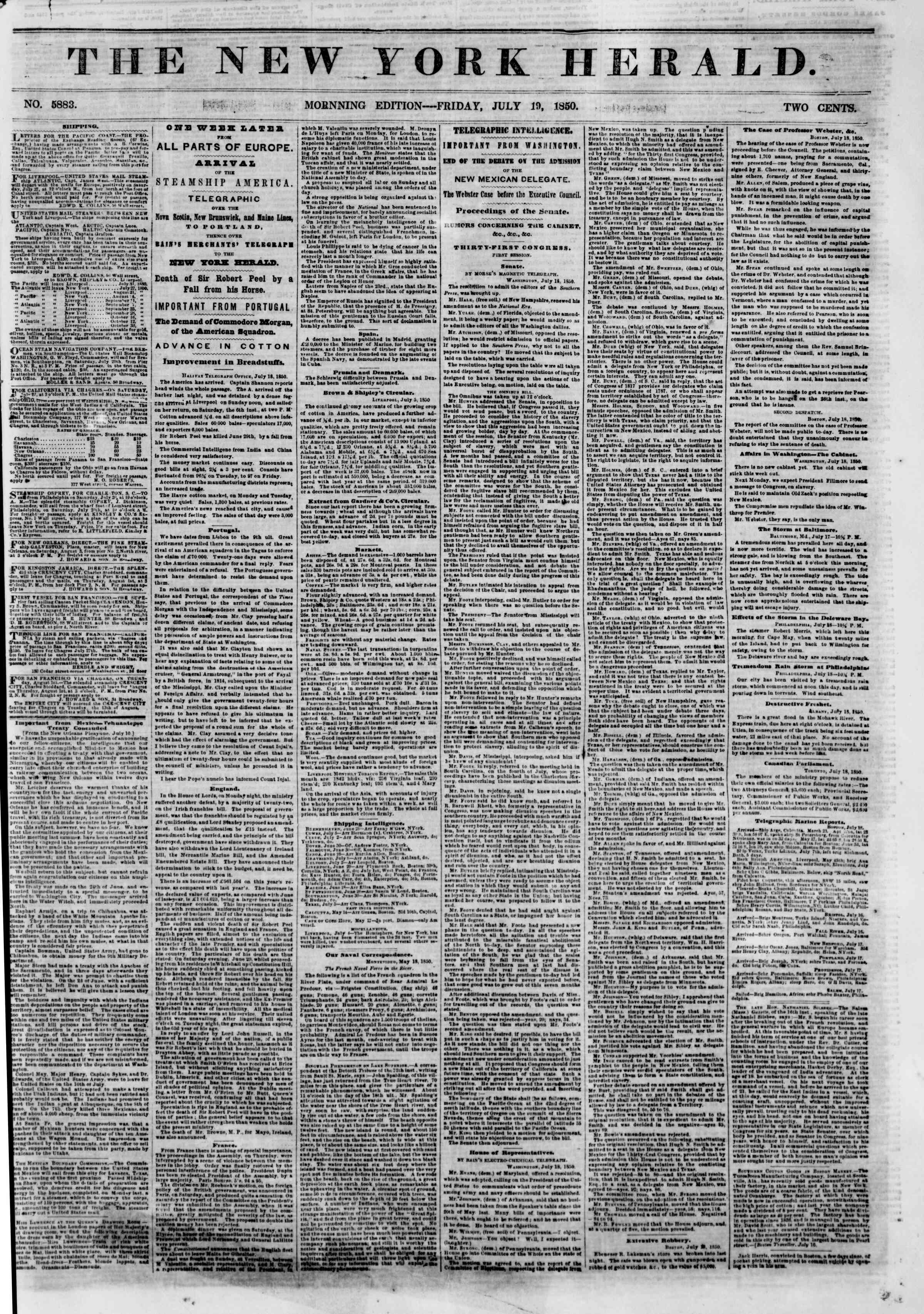Newspaper of The New York Herald dated 19 Temmuz 1850 Page 1