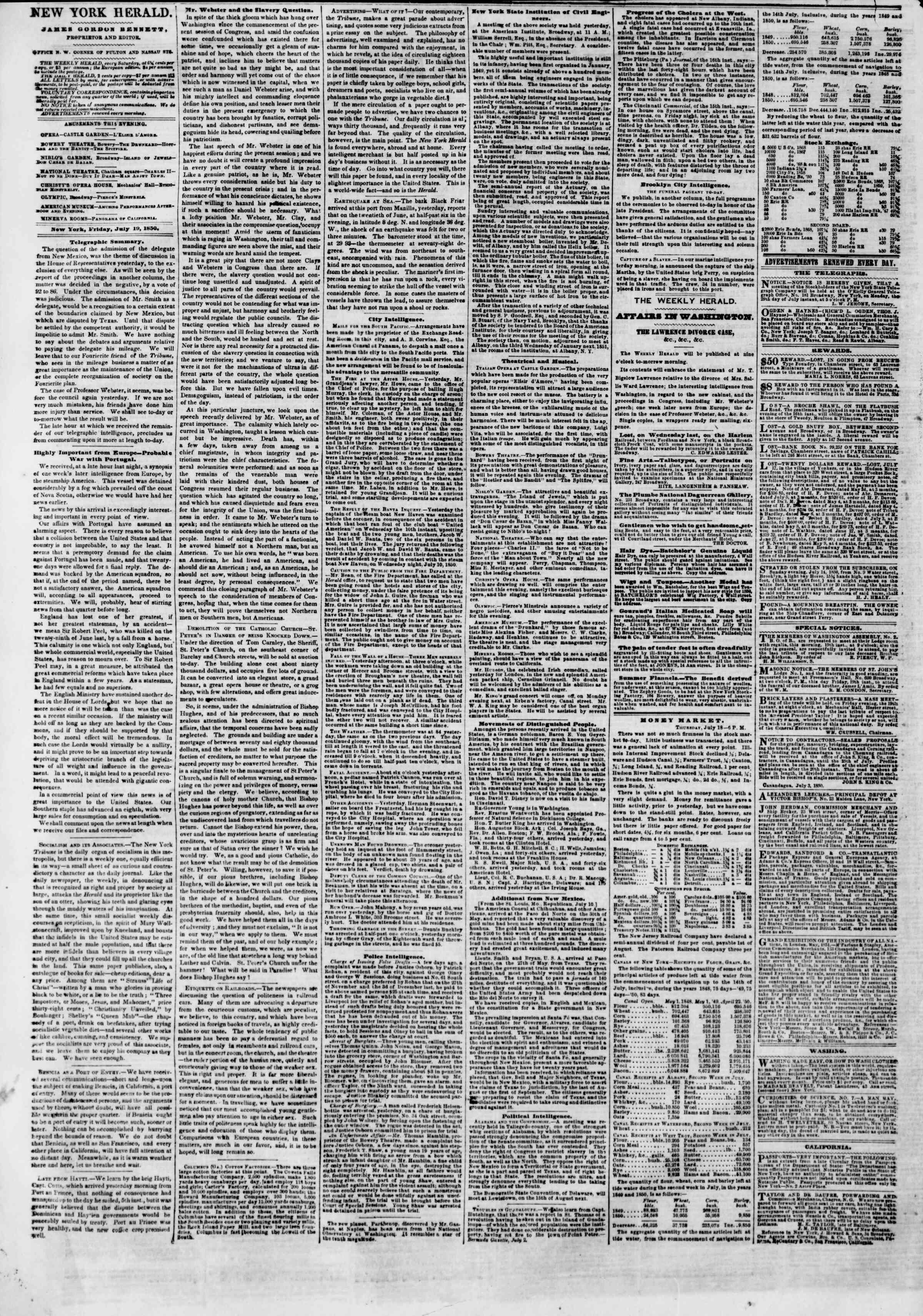 Newspaper of The New York Herald dated July 19, 1850 Page 2
