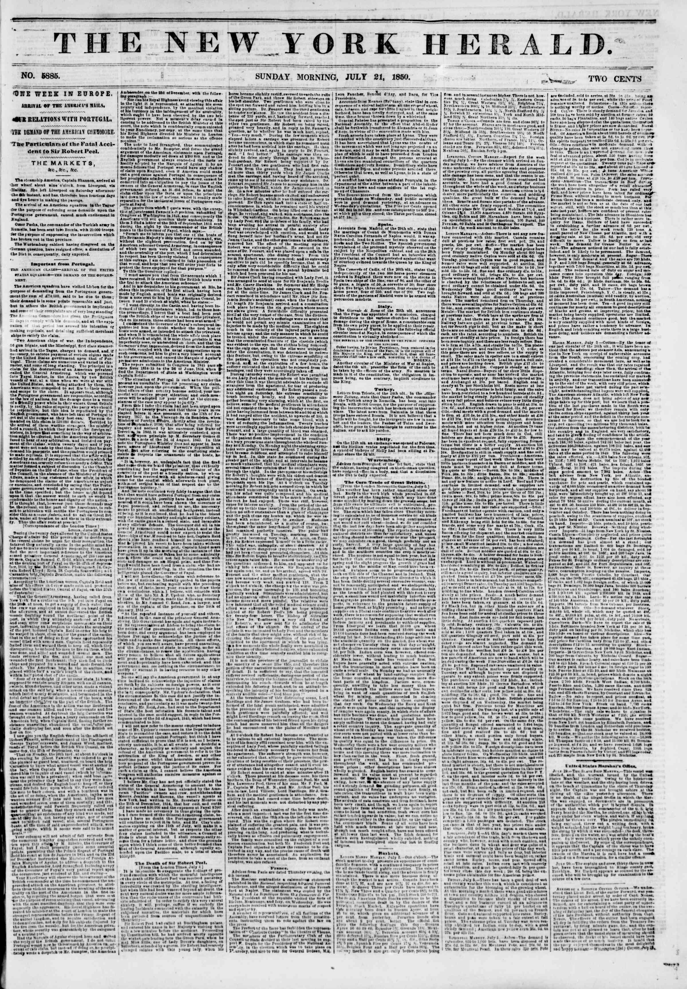 Newspaper of The New York Herald dated July 21, 1850 Page 1