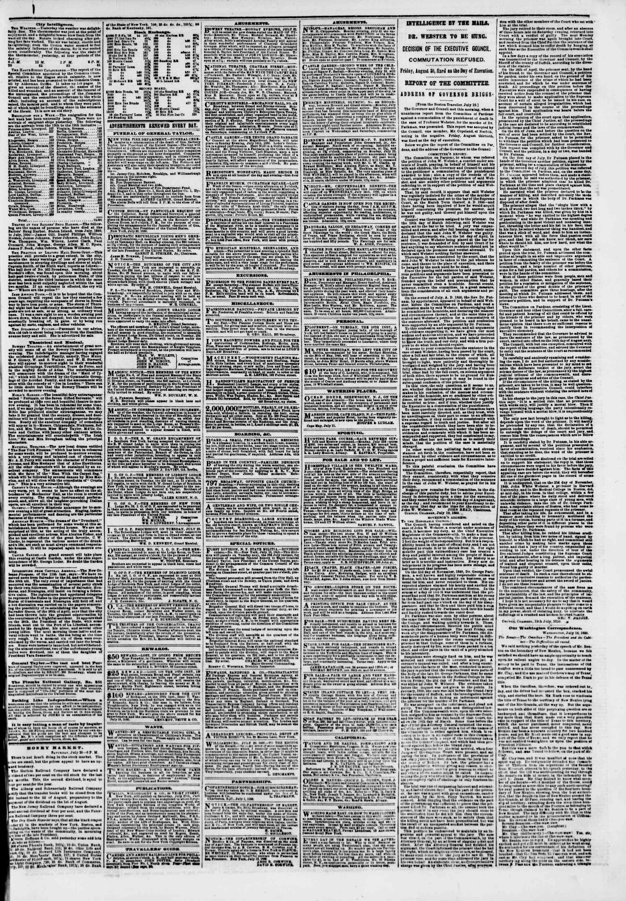 Newspaper of The New York Herald dated July 21, 1850 Page 3