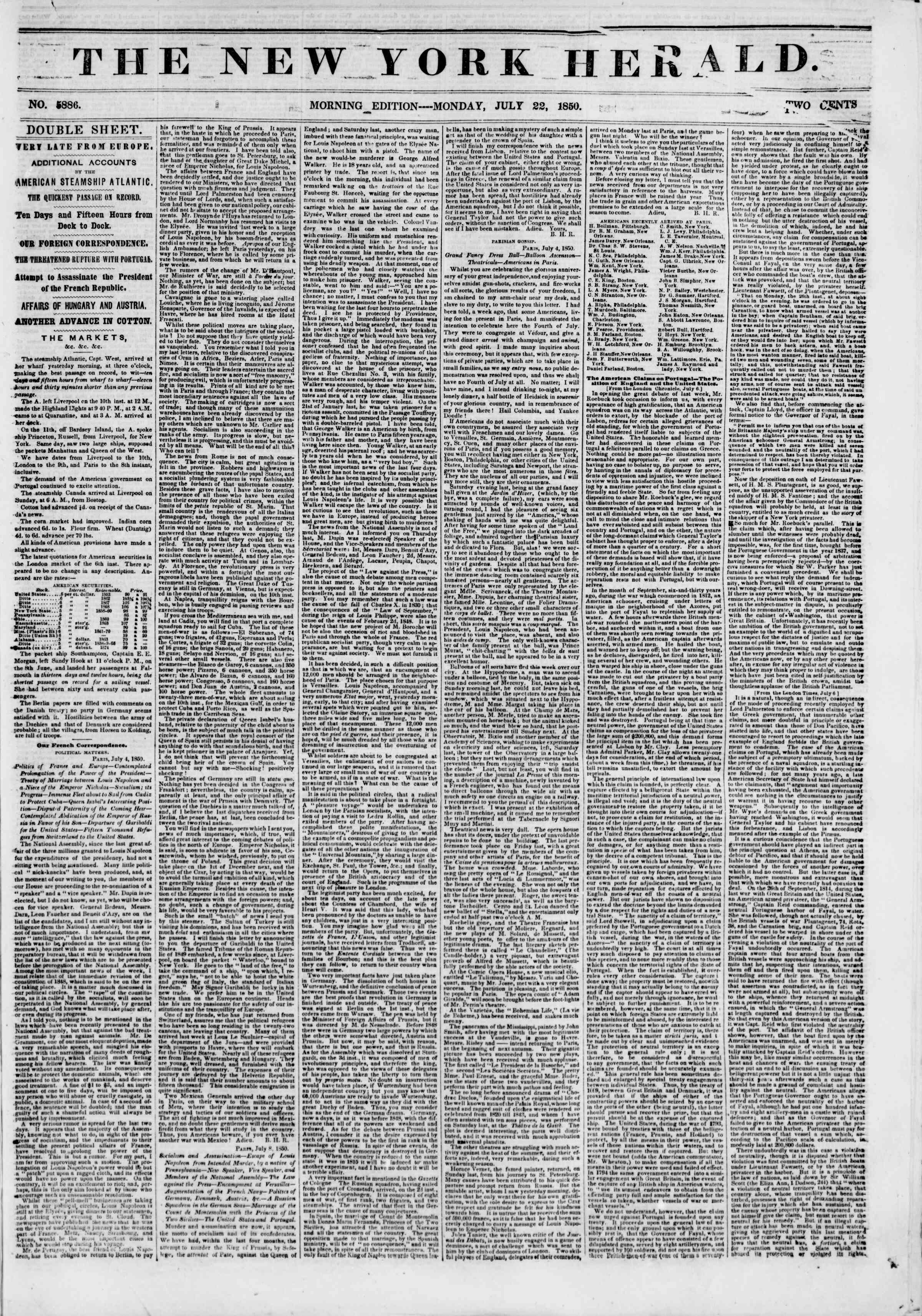 Newspaper of The New York Herald dated July 22, 1850 Page 1