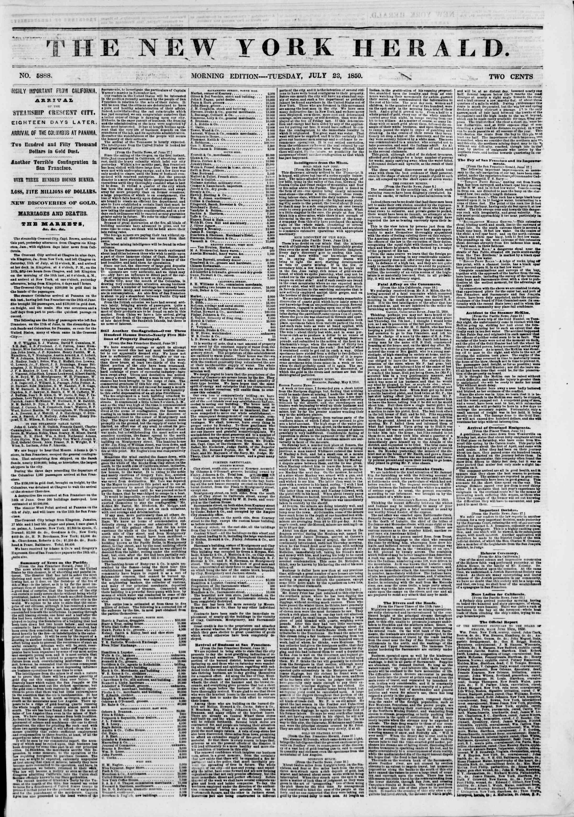 Newspaper of The New York Herald dated July 23, 1850 Page 1