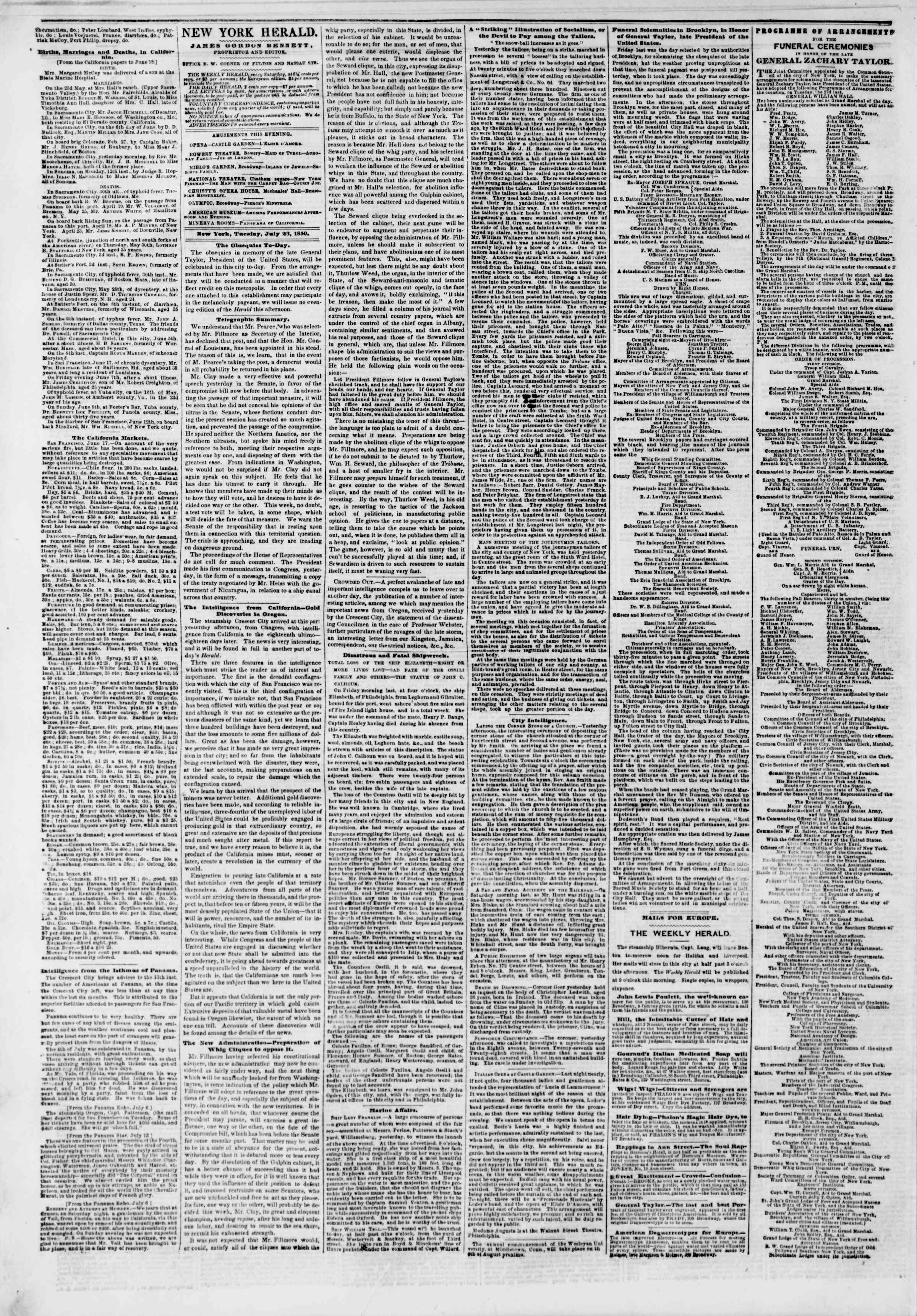Newspaper of The New York Herald dated July 23, 1850 Page 2