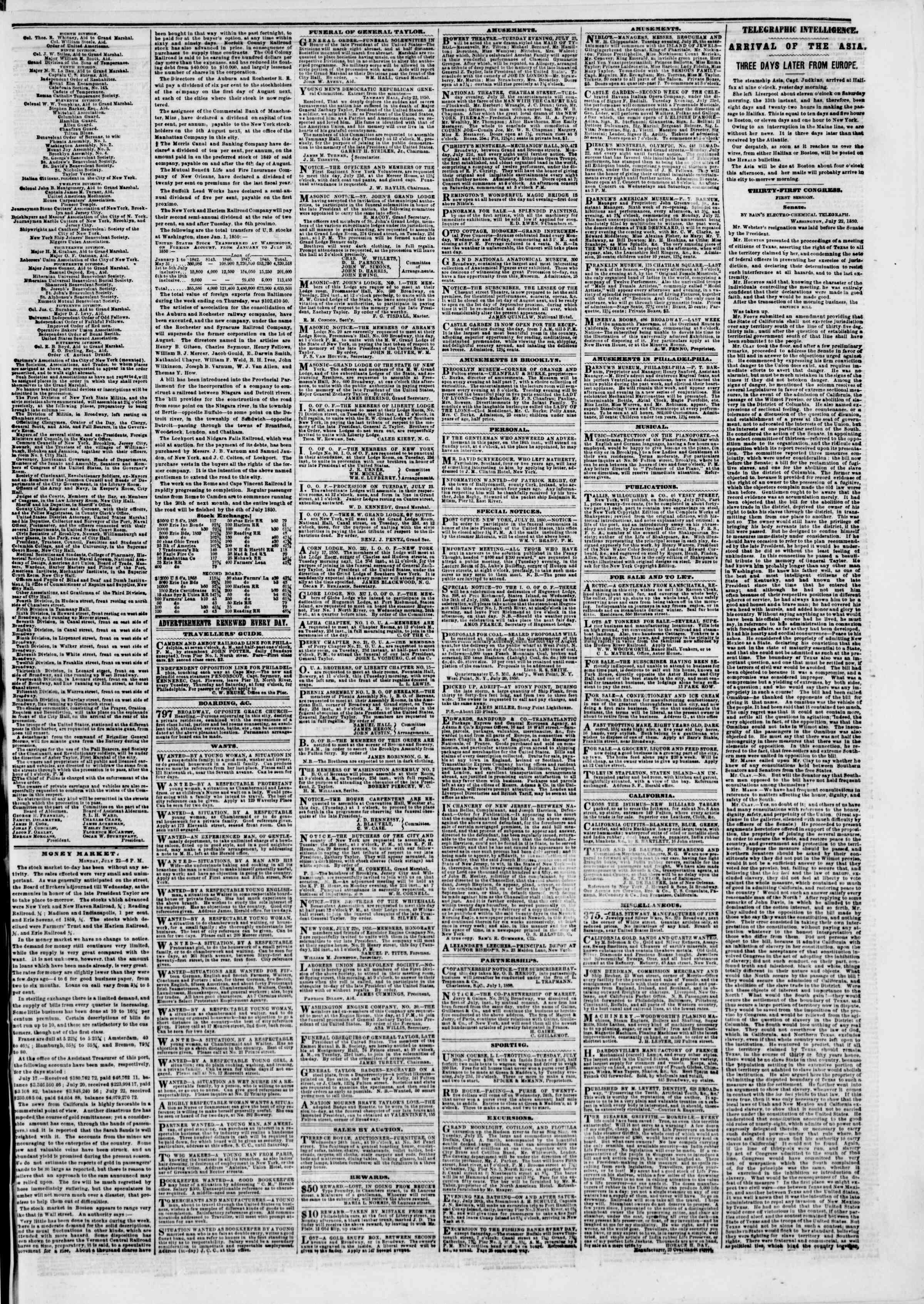 Newspaper of The New York Herald dated 23 Temmuz 1850 Page 3