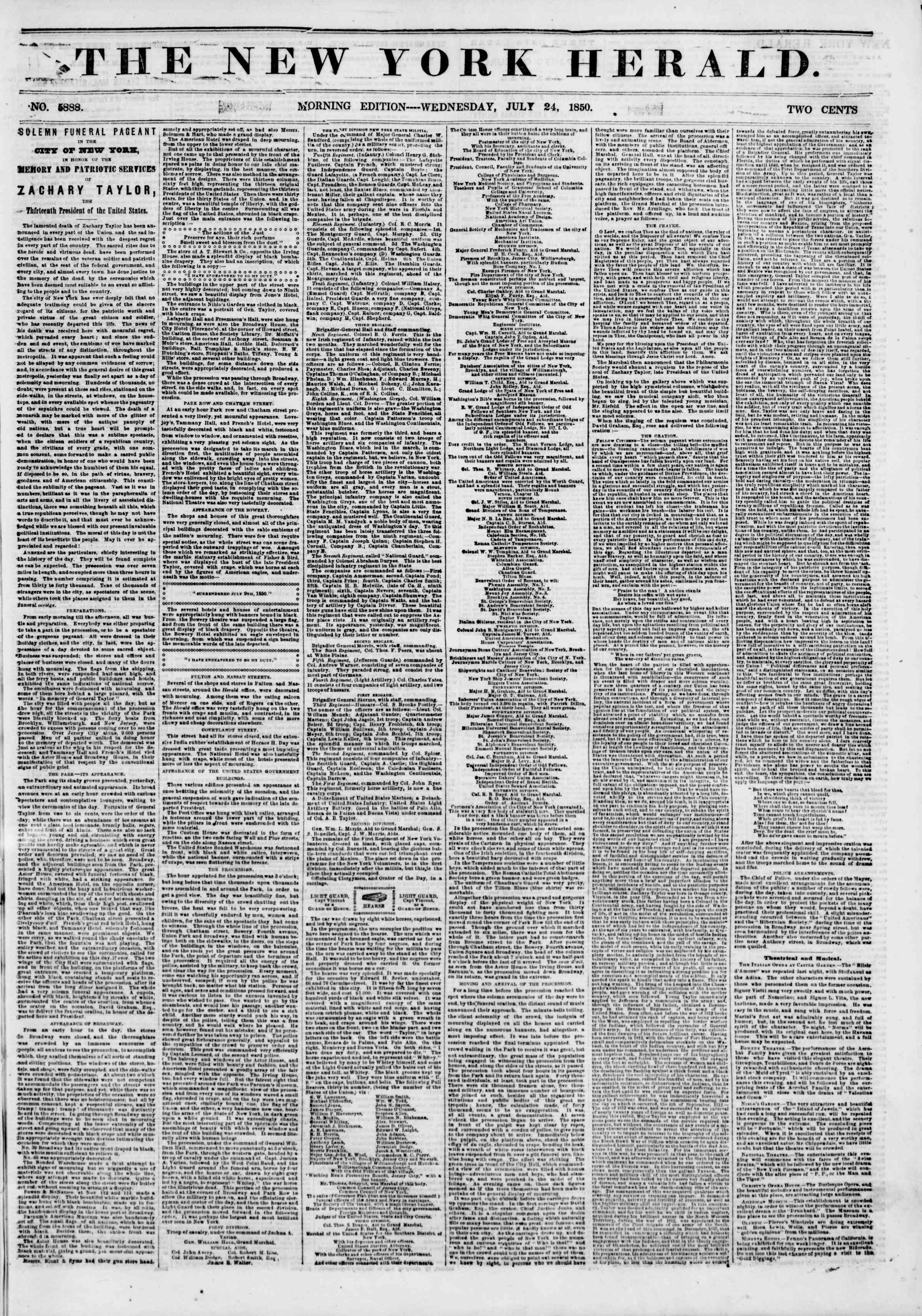 Newspaper of The New York Herald dated July 24, 1850 Page 1