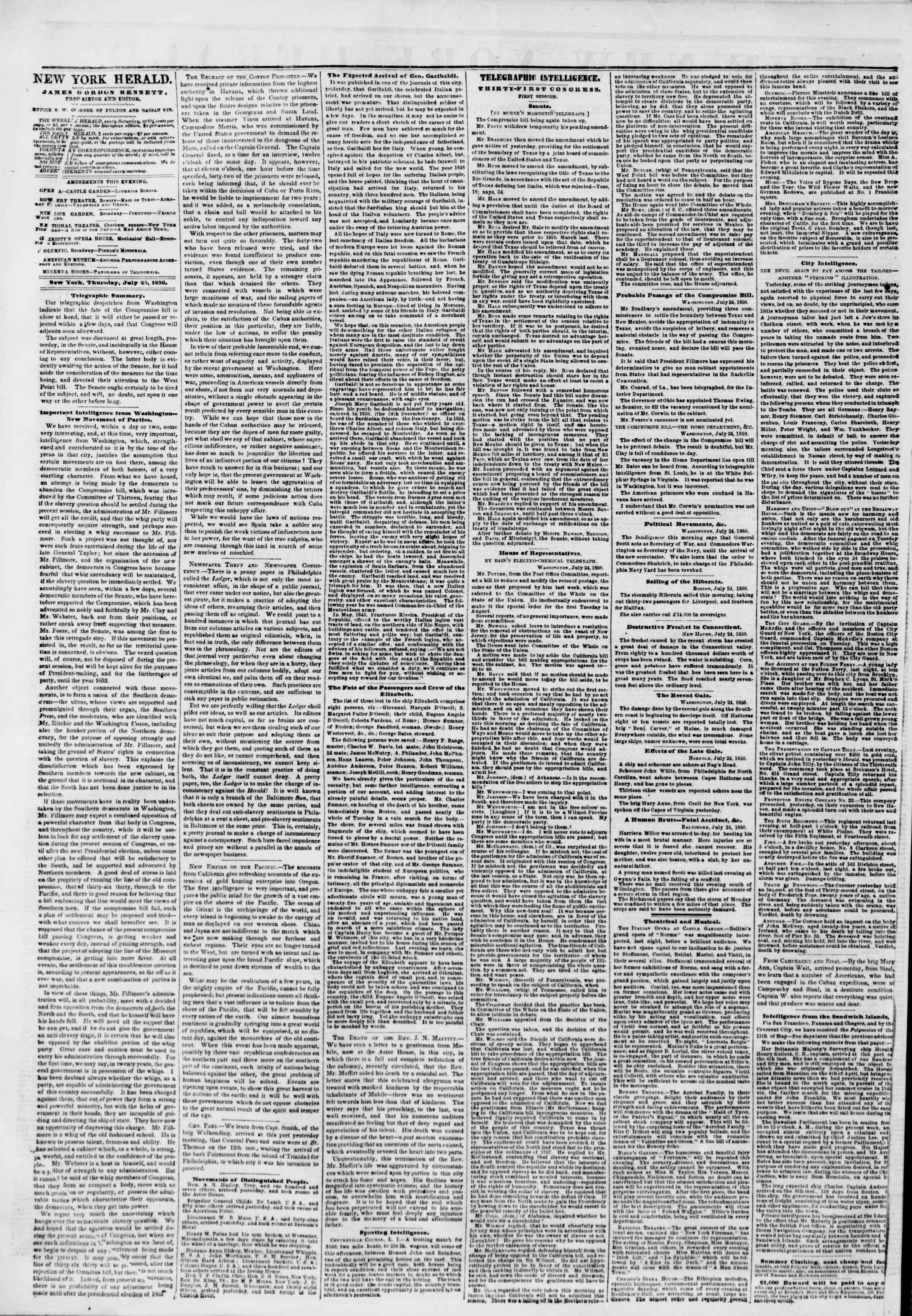 Newspaper of The New York Herald dated July 25, 1850 Page 2