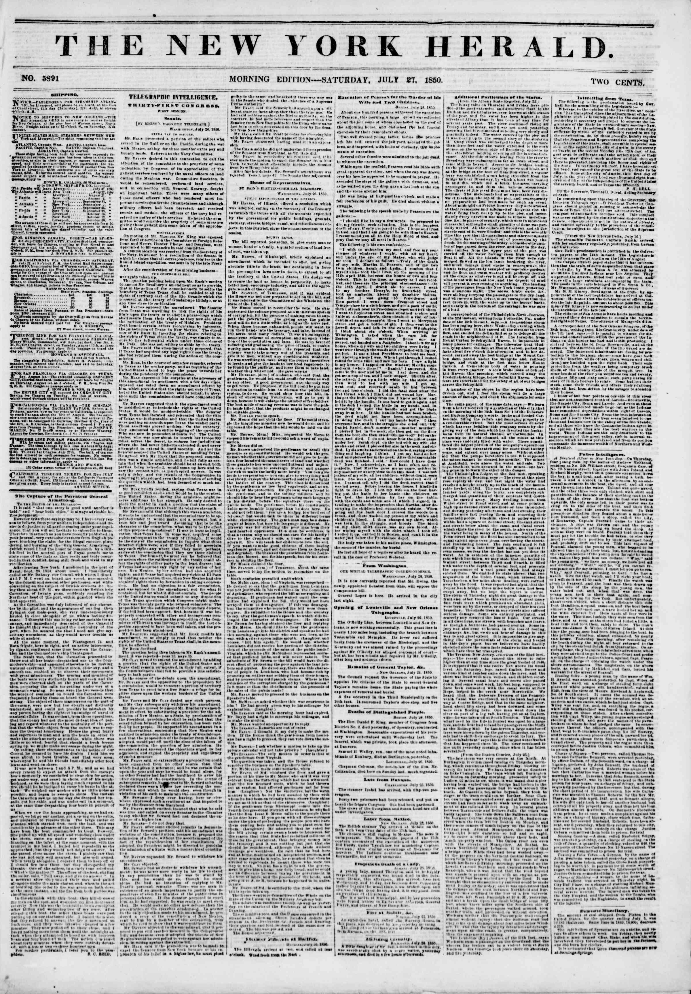 Newspaper of The New York Herald dated July 27, 1850 Page 1