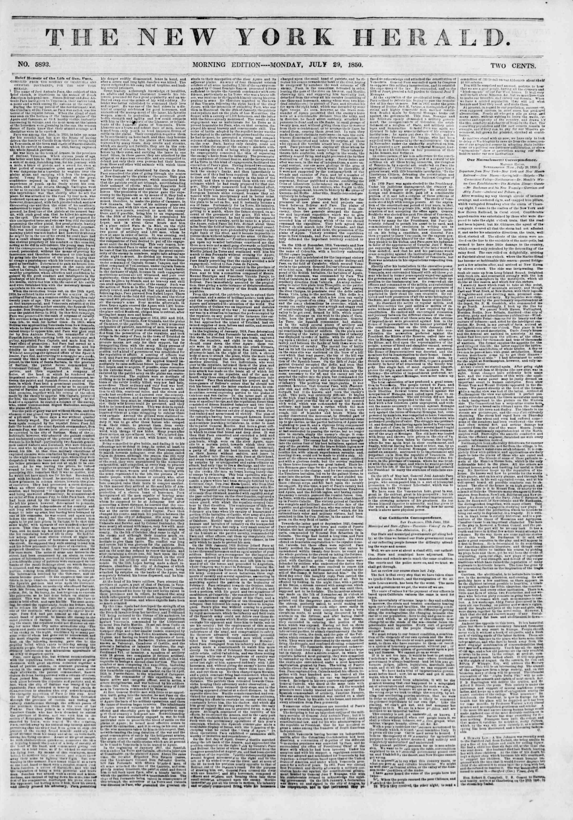 29 Temmuz 1850 tarihli The New York Herald Gazetesi Sayfa 1