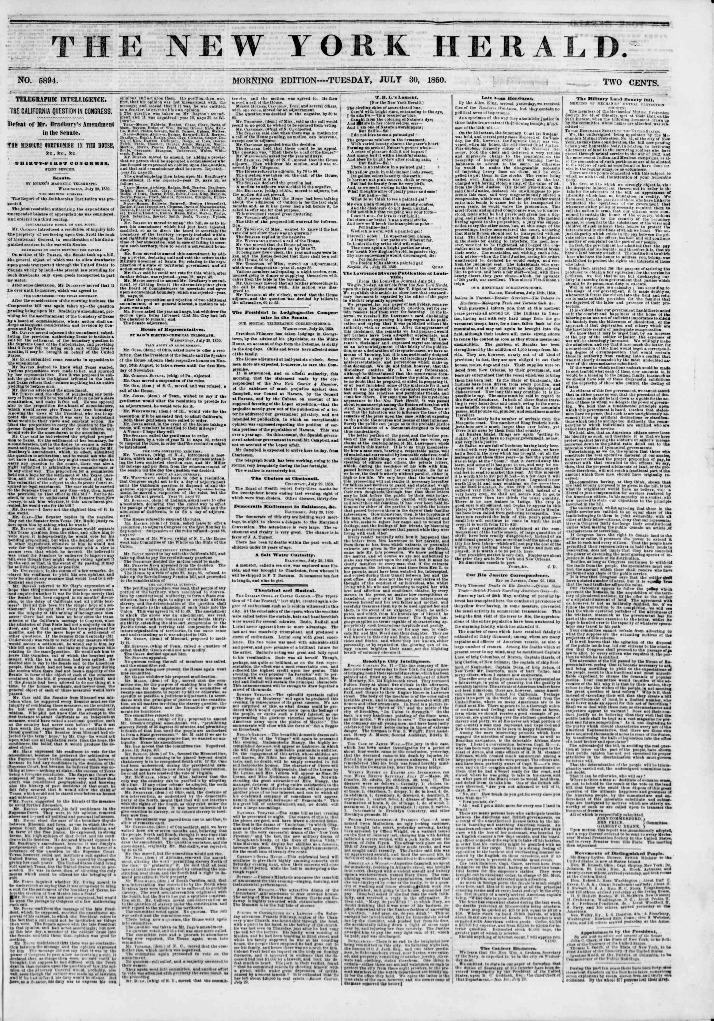 30 Temmuz 1850 tarihli The New York Herald Gazetesi Sayfa 1