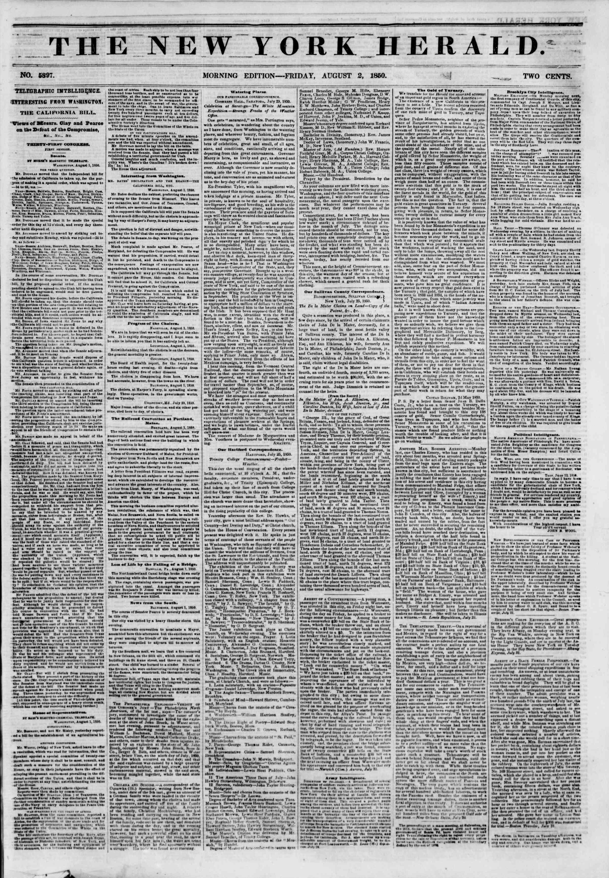 Newspaper of The New York Herald dated August 2, 1850 Page 1