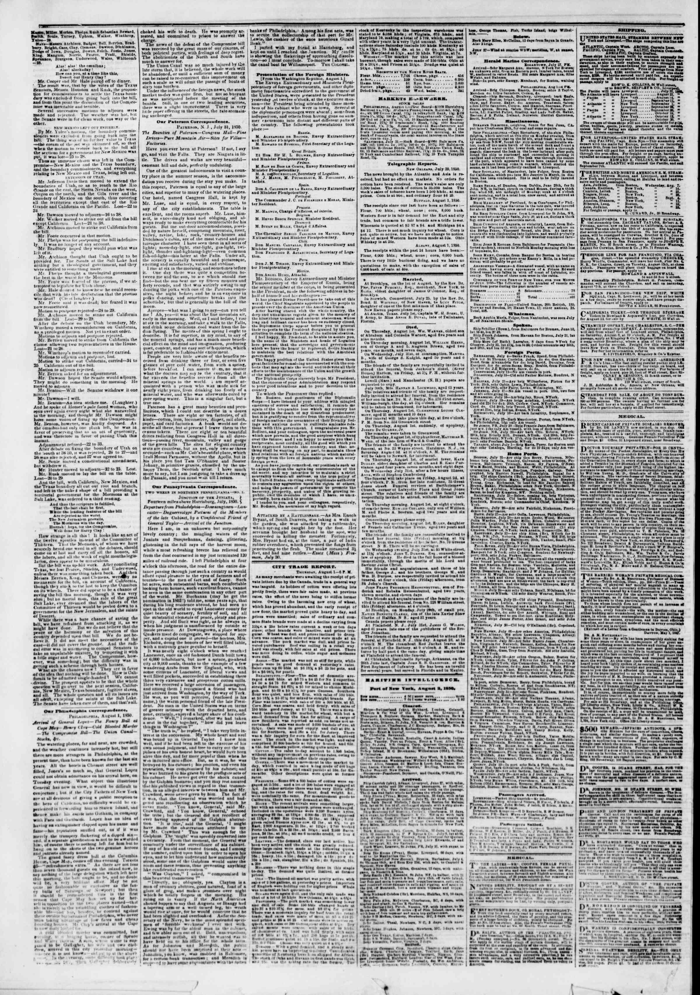Newspaper of The New York Herald dated August 2, 1850 Page 4