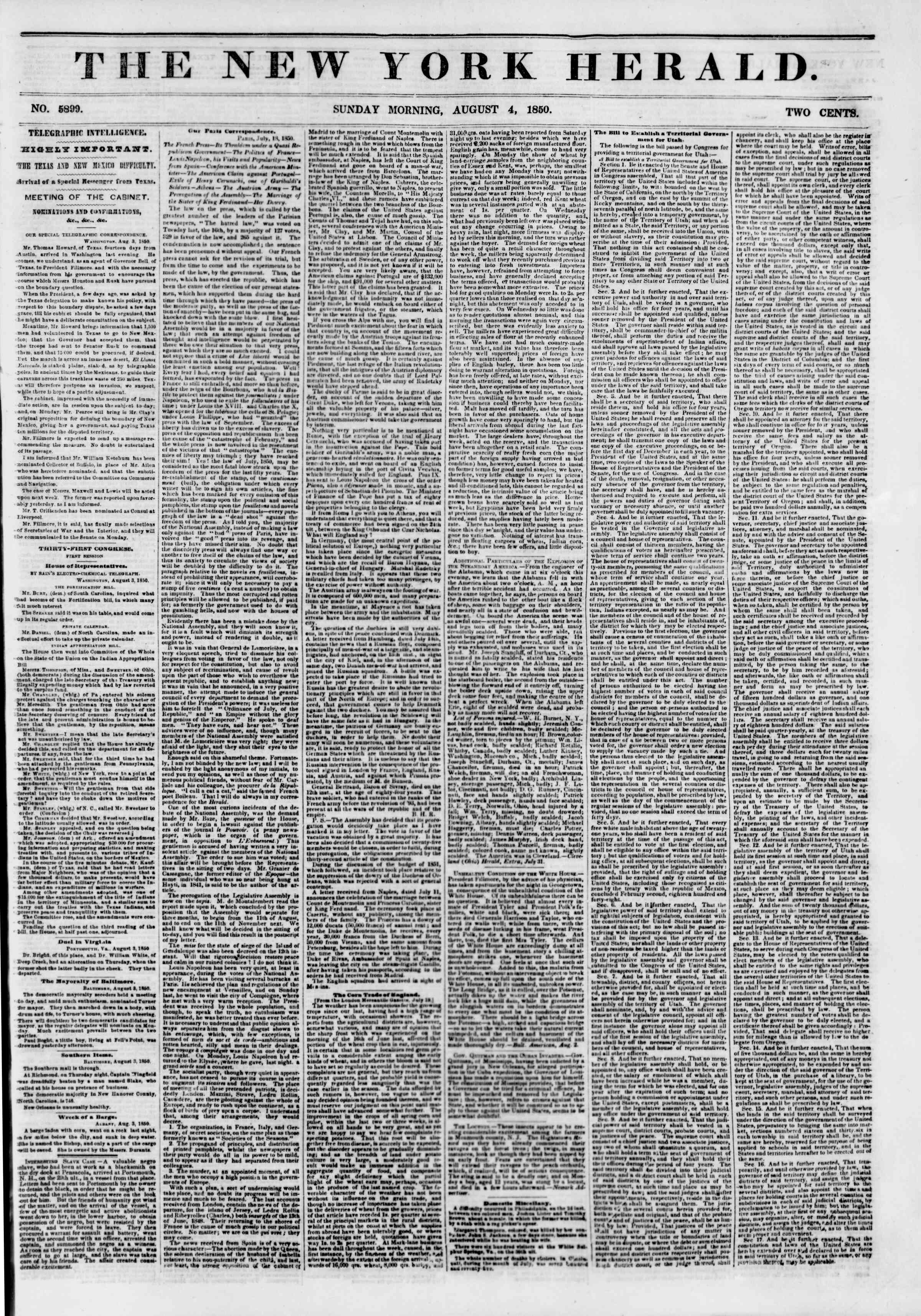 Newspaper of The New York Herald dated August 4, 1850 Page 1