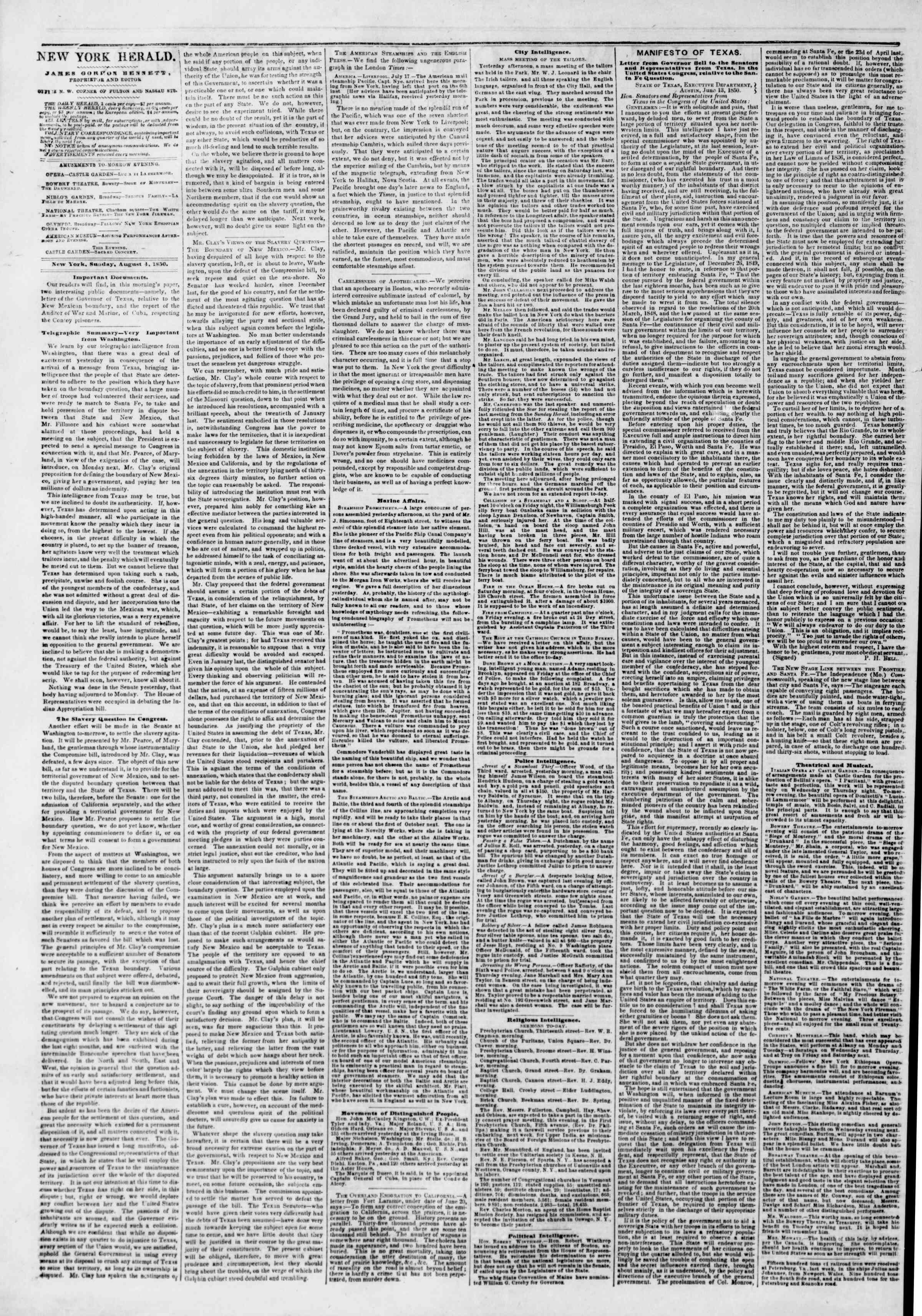 Newspaper of The New York Herald dated August 4, 1850 Page 2