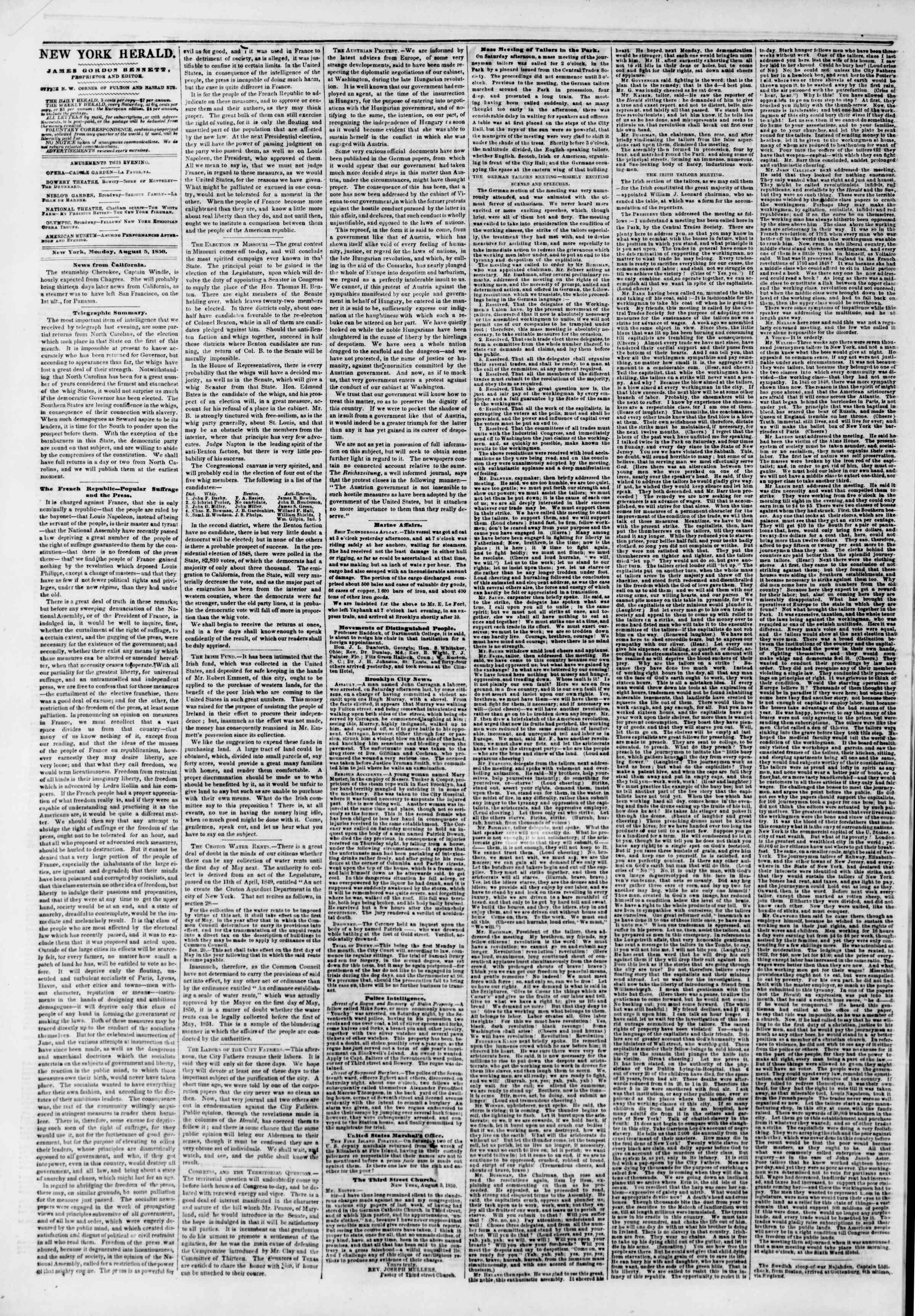 Newspaper of The New York Herald dated August 5, 1850 Page 2