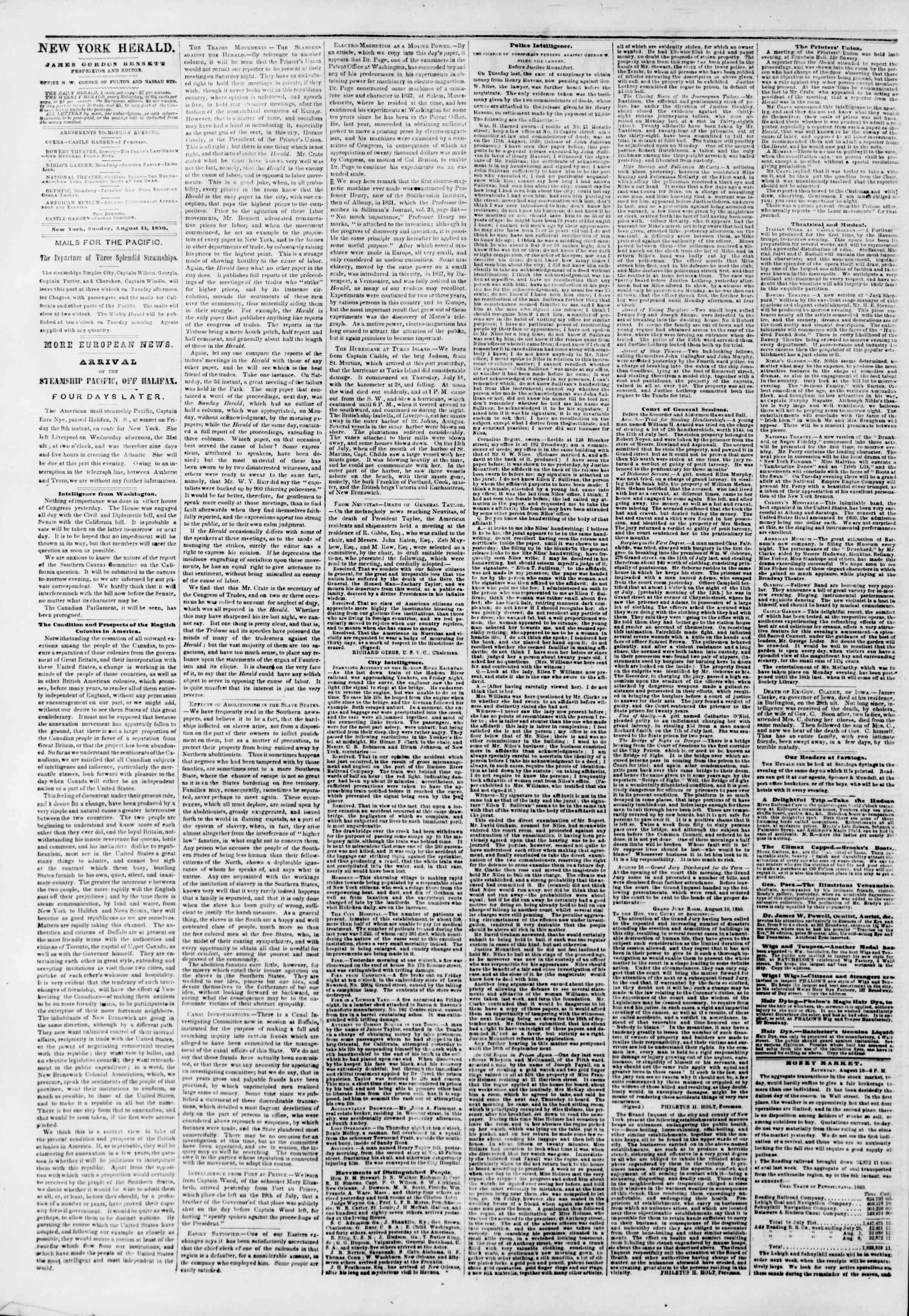 Newspaper of The New York Herald dated August 11, 1850 Page 2