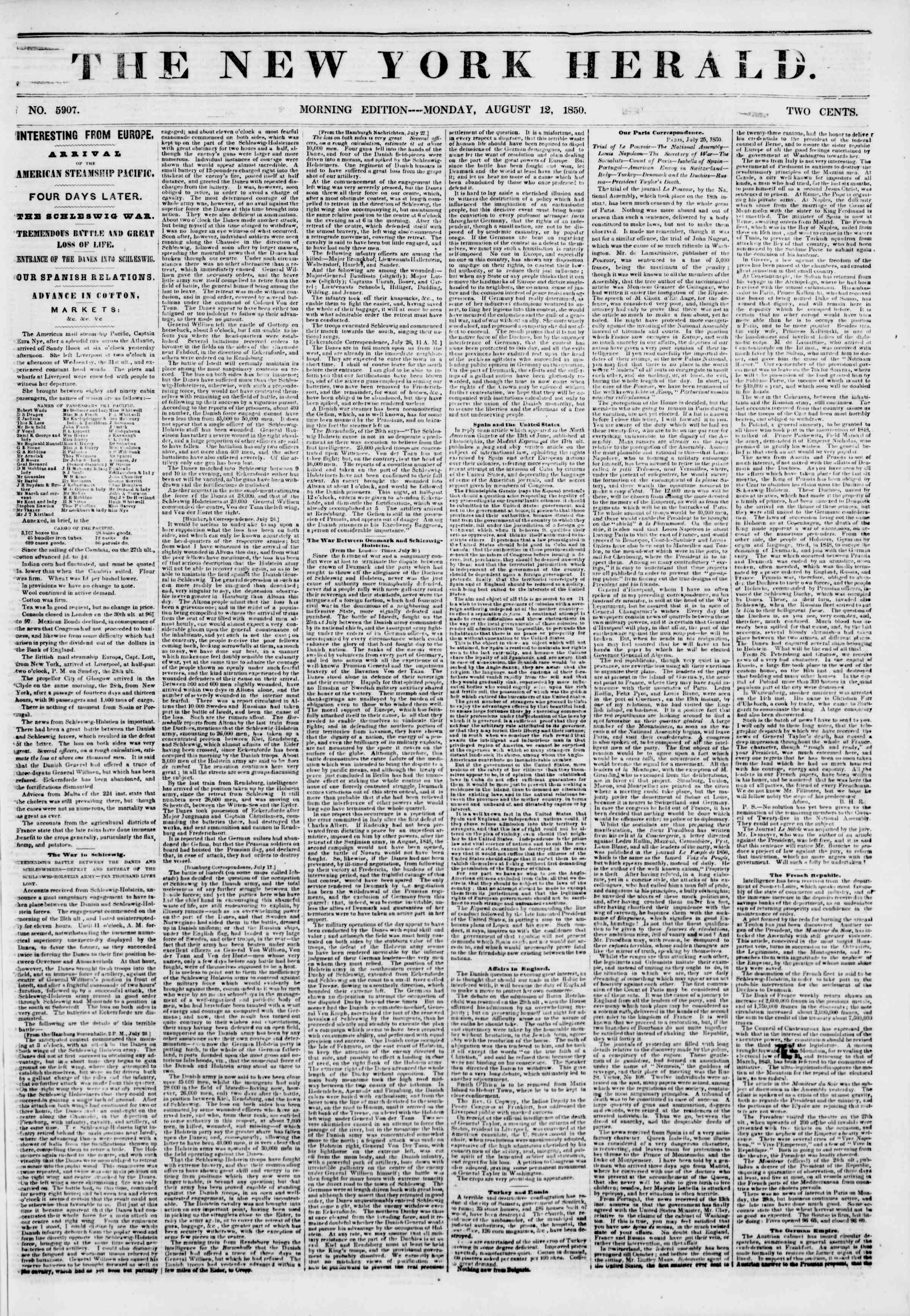 Newspaper of The New York Herald dated August 12, 1850 Page 1
