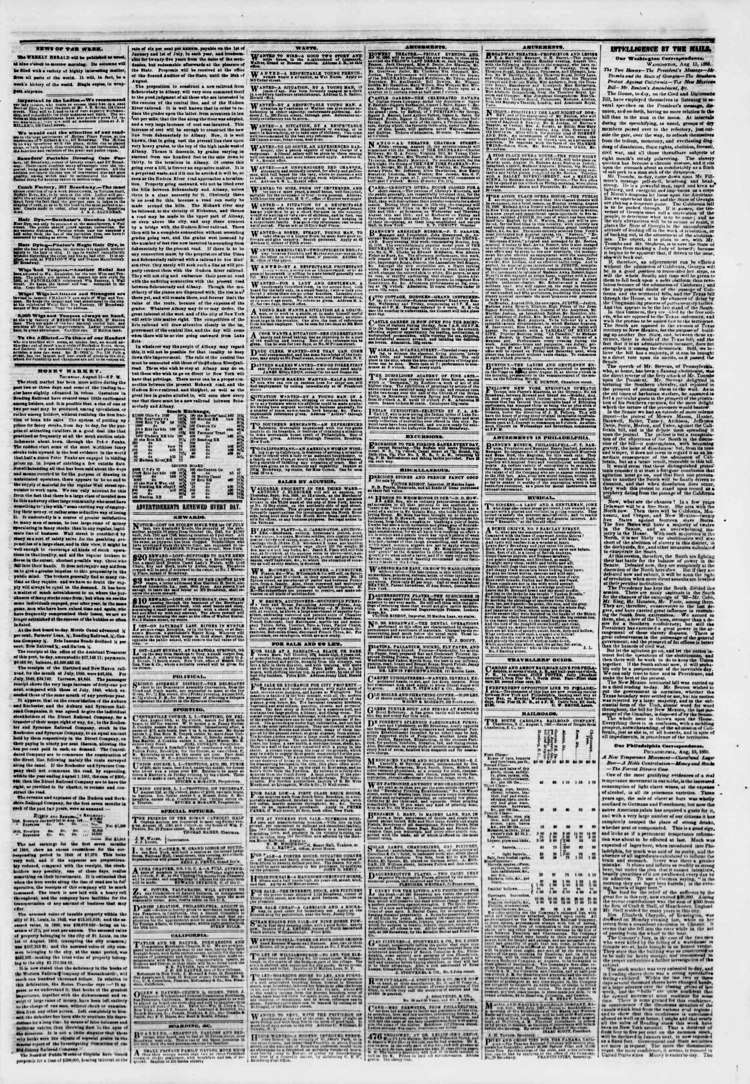 Newspaper of The New York Herald dated August 16, 1850 Page 3