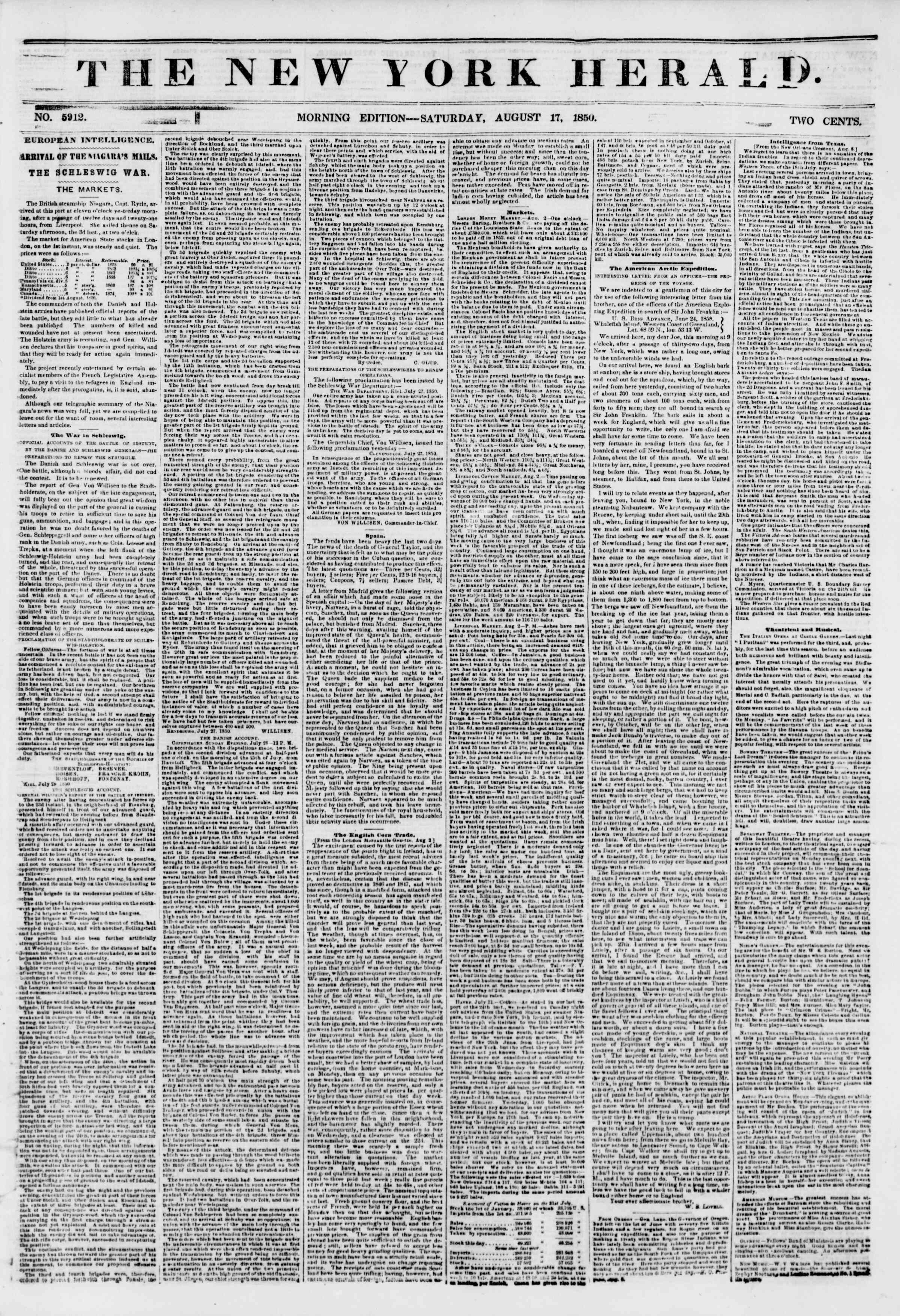 Newspaper of The New York Herald dated August 17, 1850 Page 1