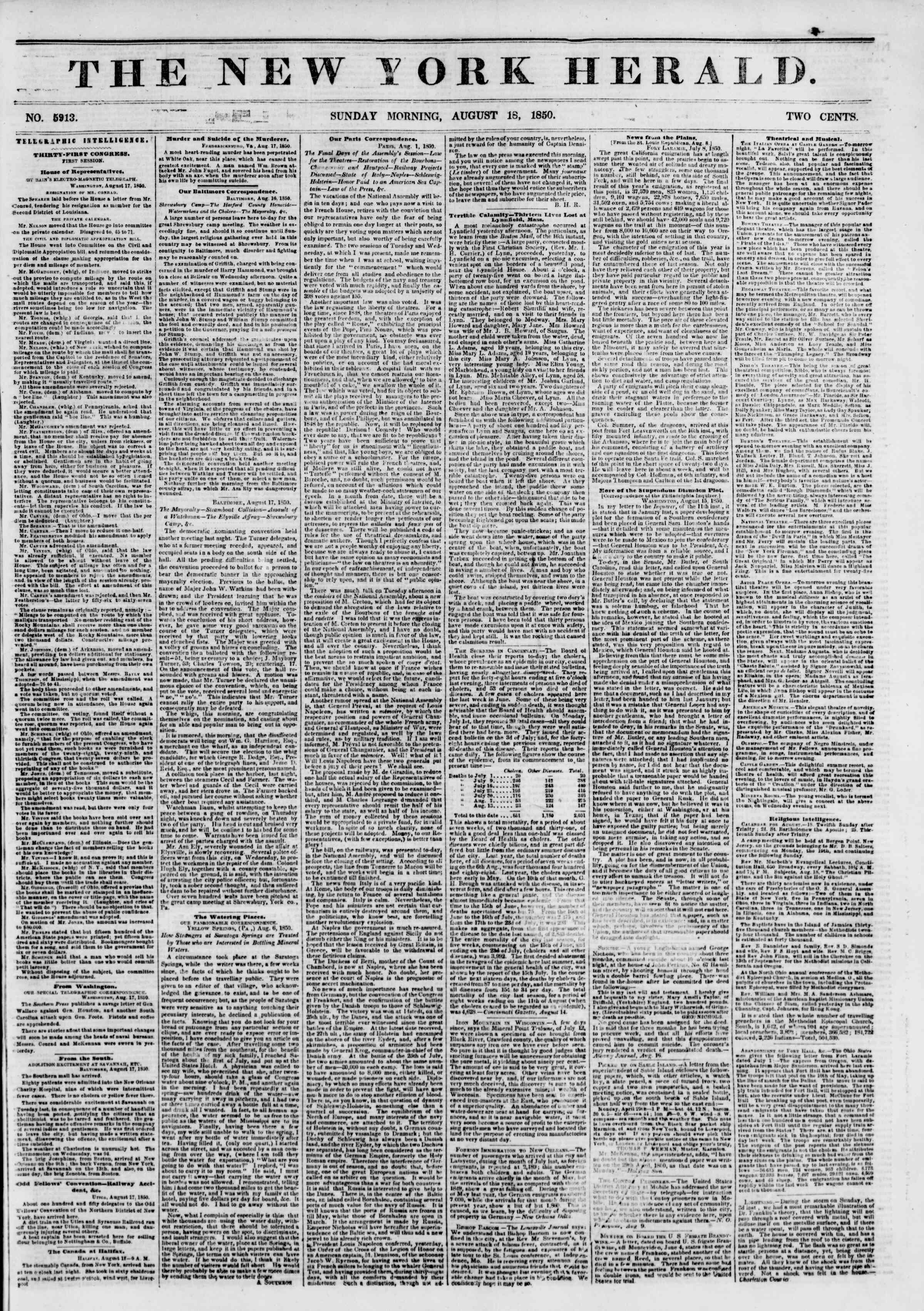 Newspaper of The New York Herald dated August 18, 1850 Page 1