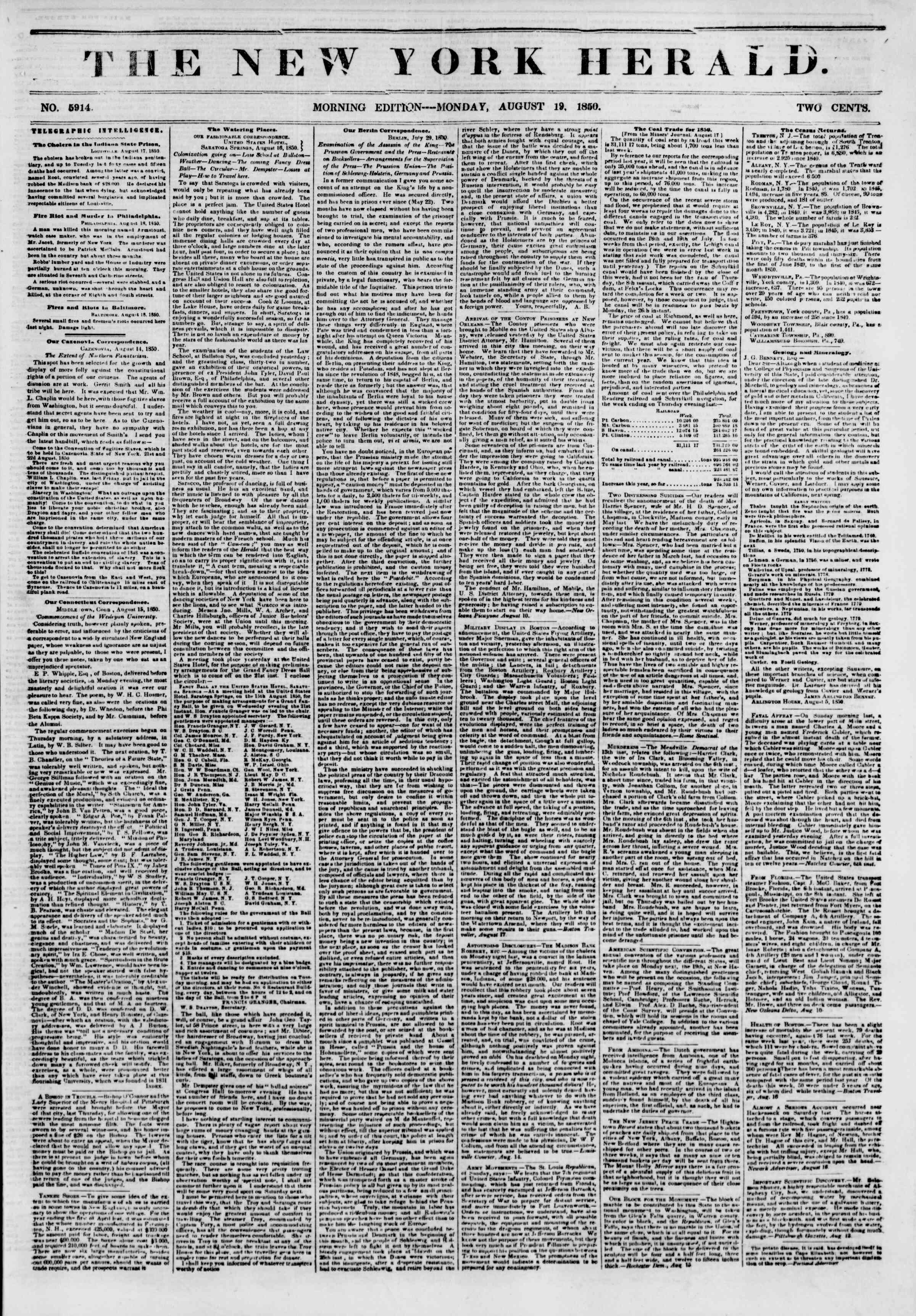 Newspaper of The New York Herald dated August 19, 1850 Page 1