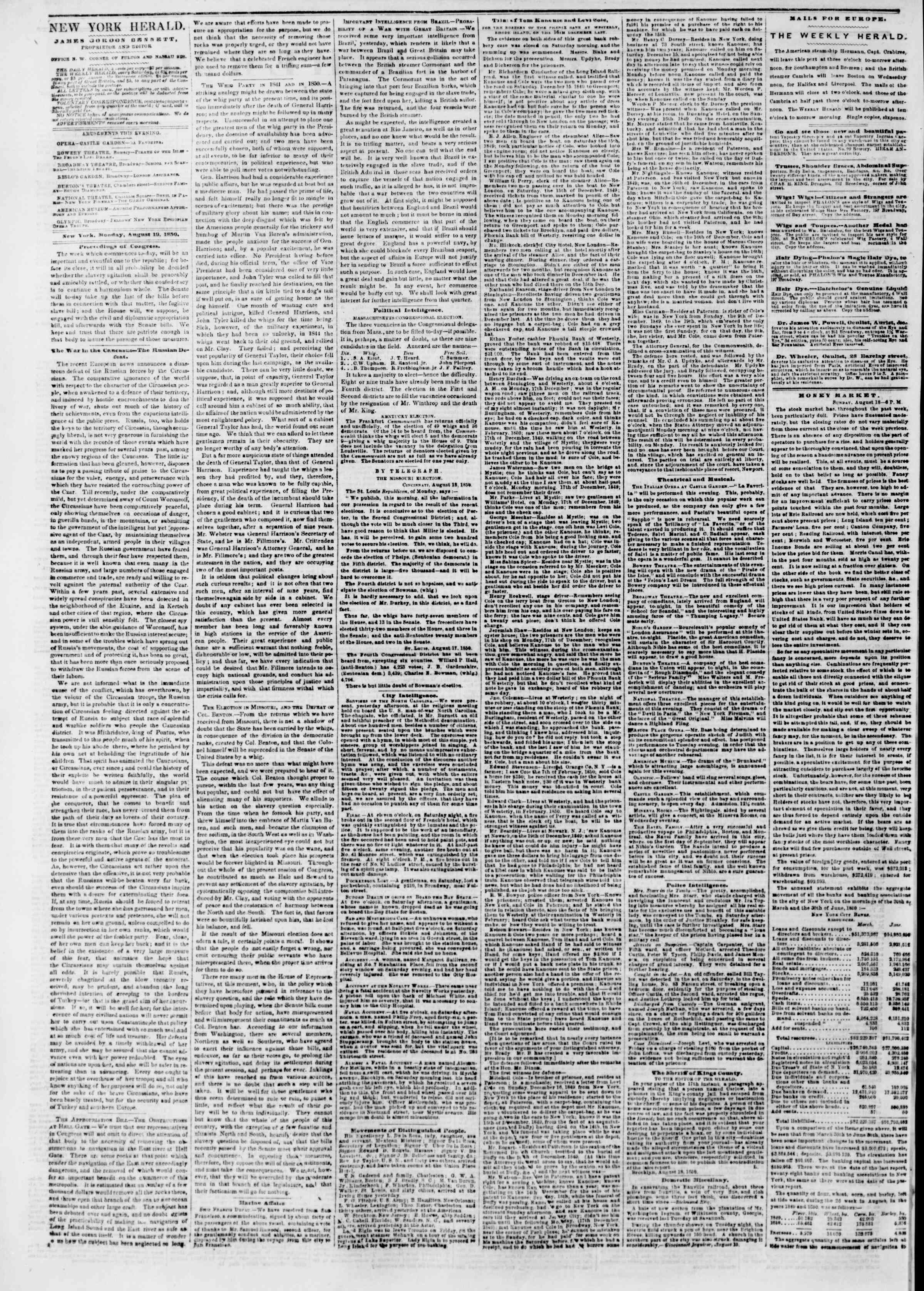Newspaper of The New York Herald dated August 19, 1850 Page 2