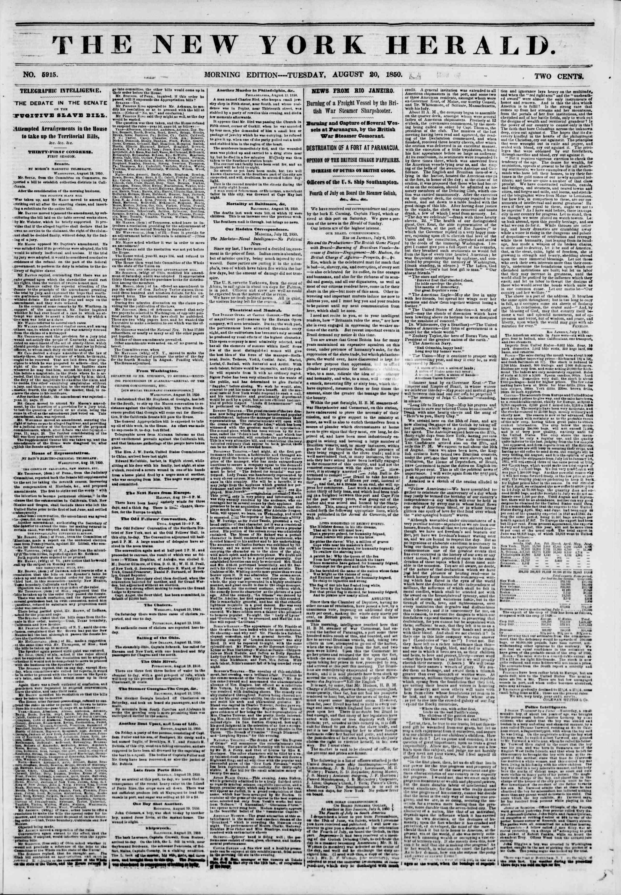 Newspaper of The New York Herald dated August 20, 1850 Page 1