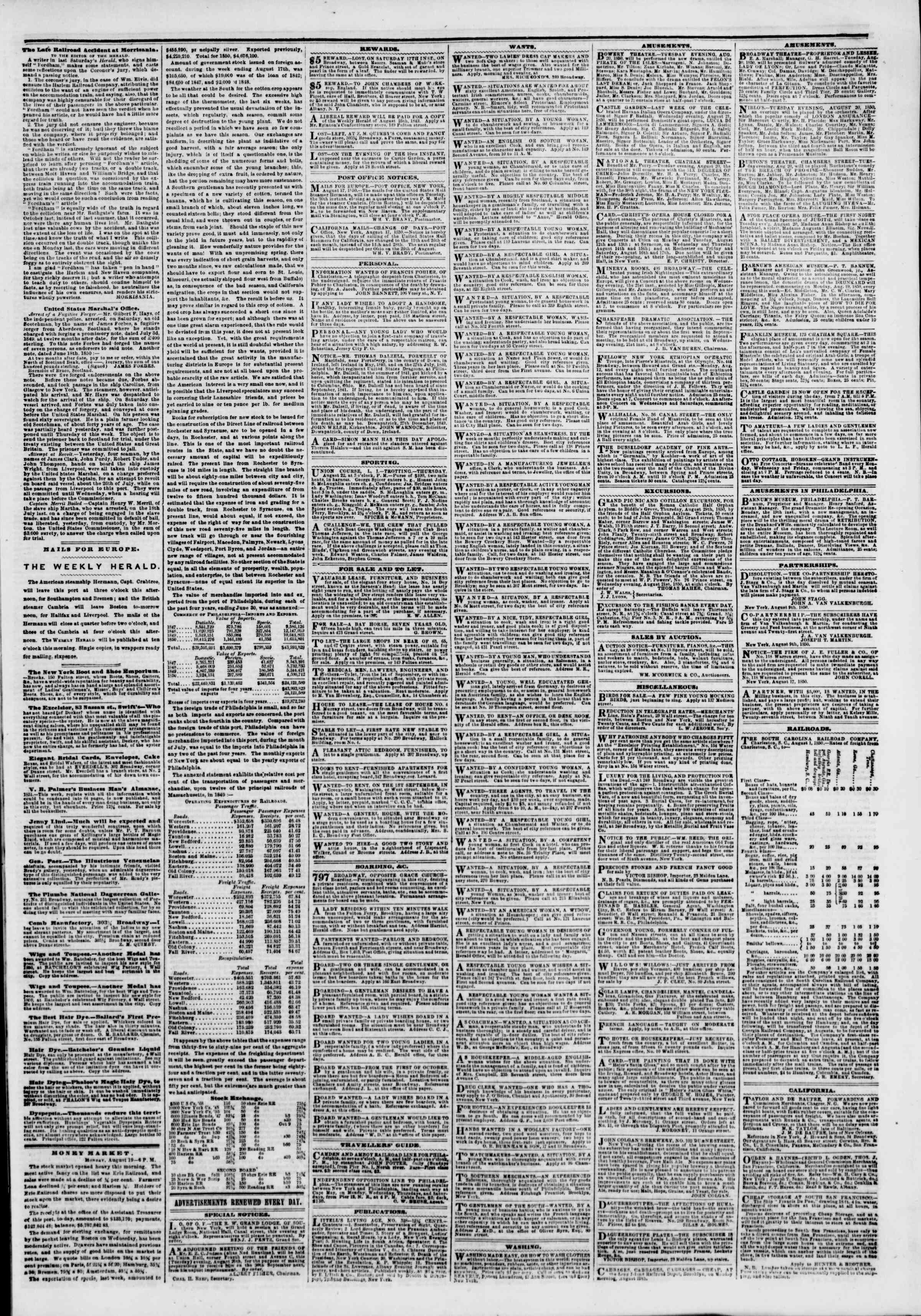 Newspaper of The New York Herald dated August 20, 1850 Page 5