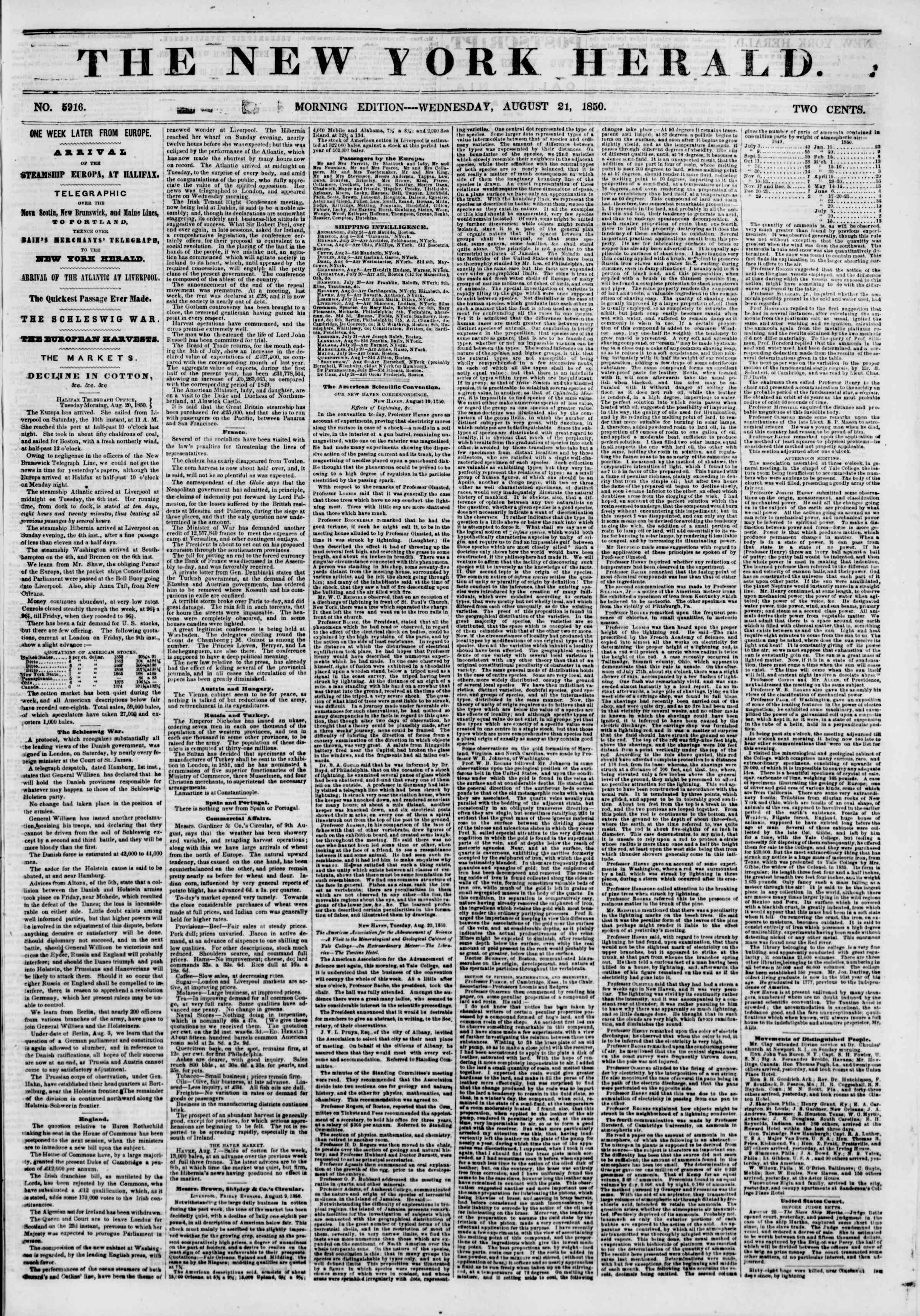 Newspaper of The New York Herald dated August 21, 1850 Page 1