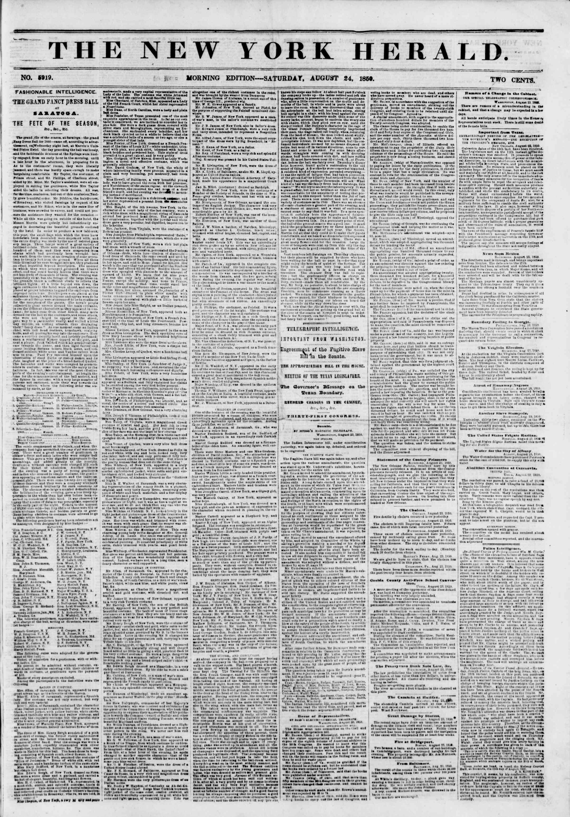 Newspaper of The New York Herald dated August 24, 1850 Page 1