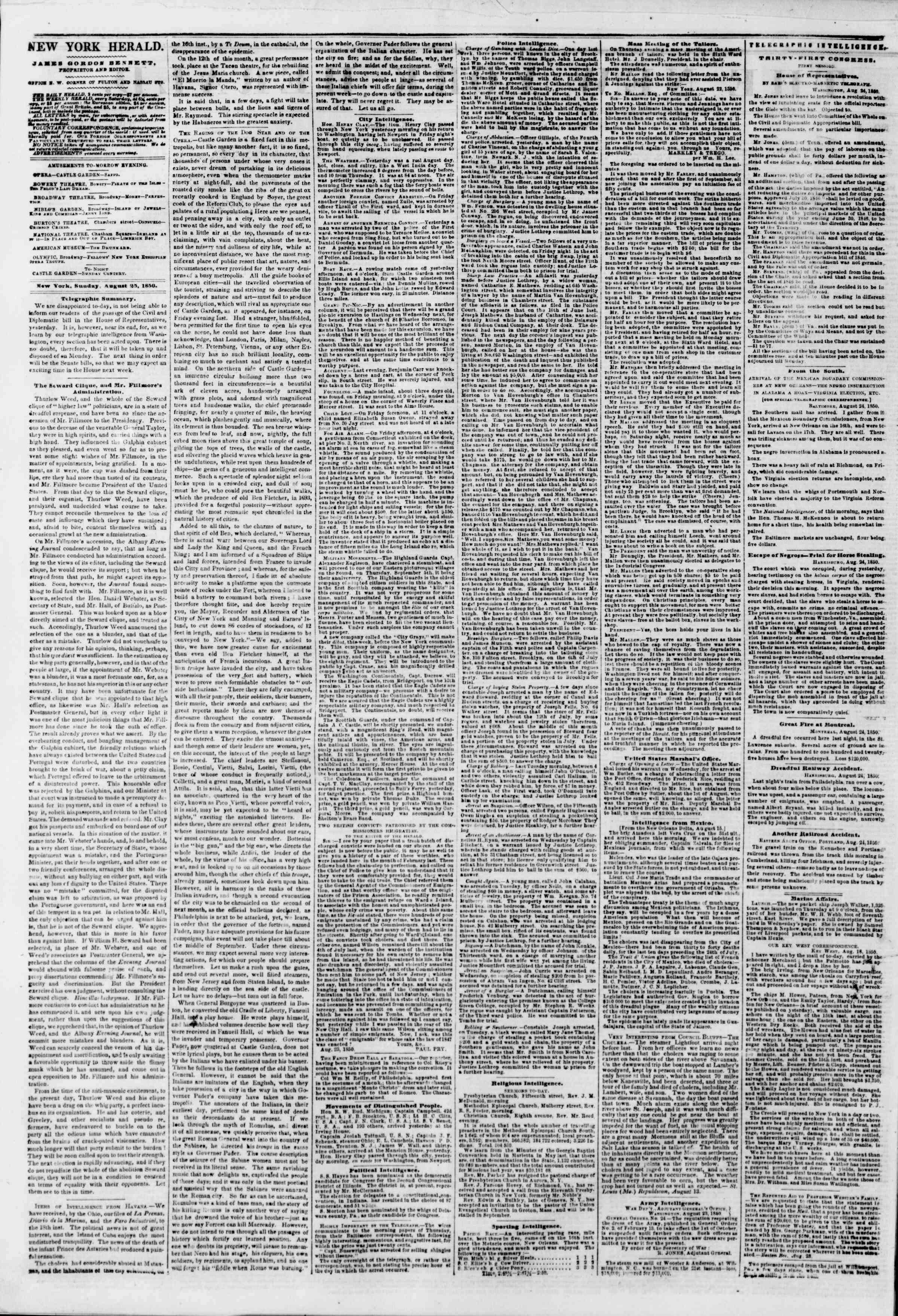 Newspaper of The New York Herald dated August 25, 1850 Page 2