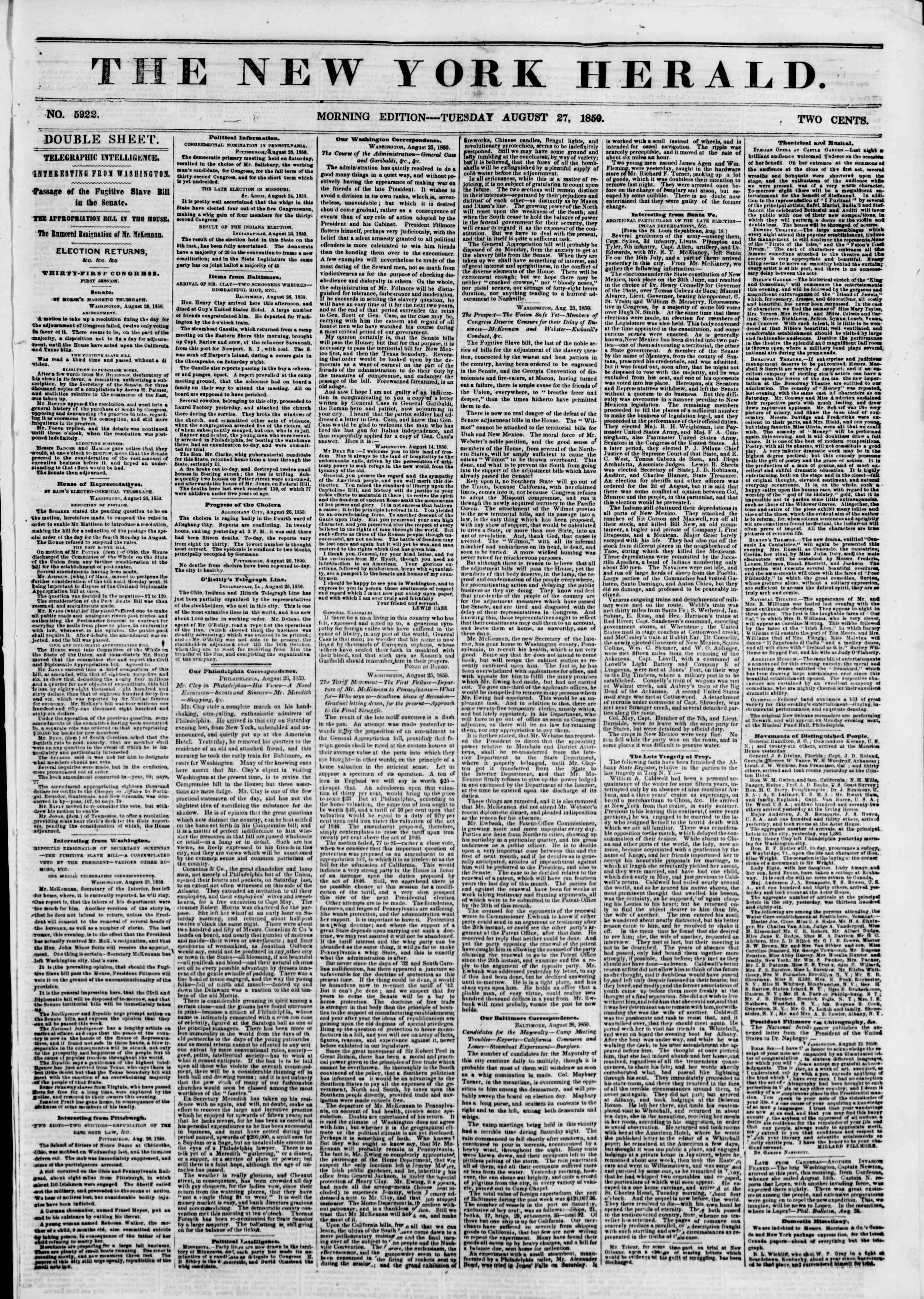 Newspaper of The New York Herald dated August 27, 1850 Page 1