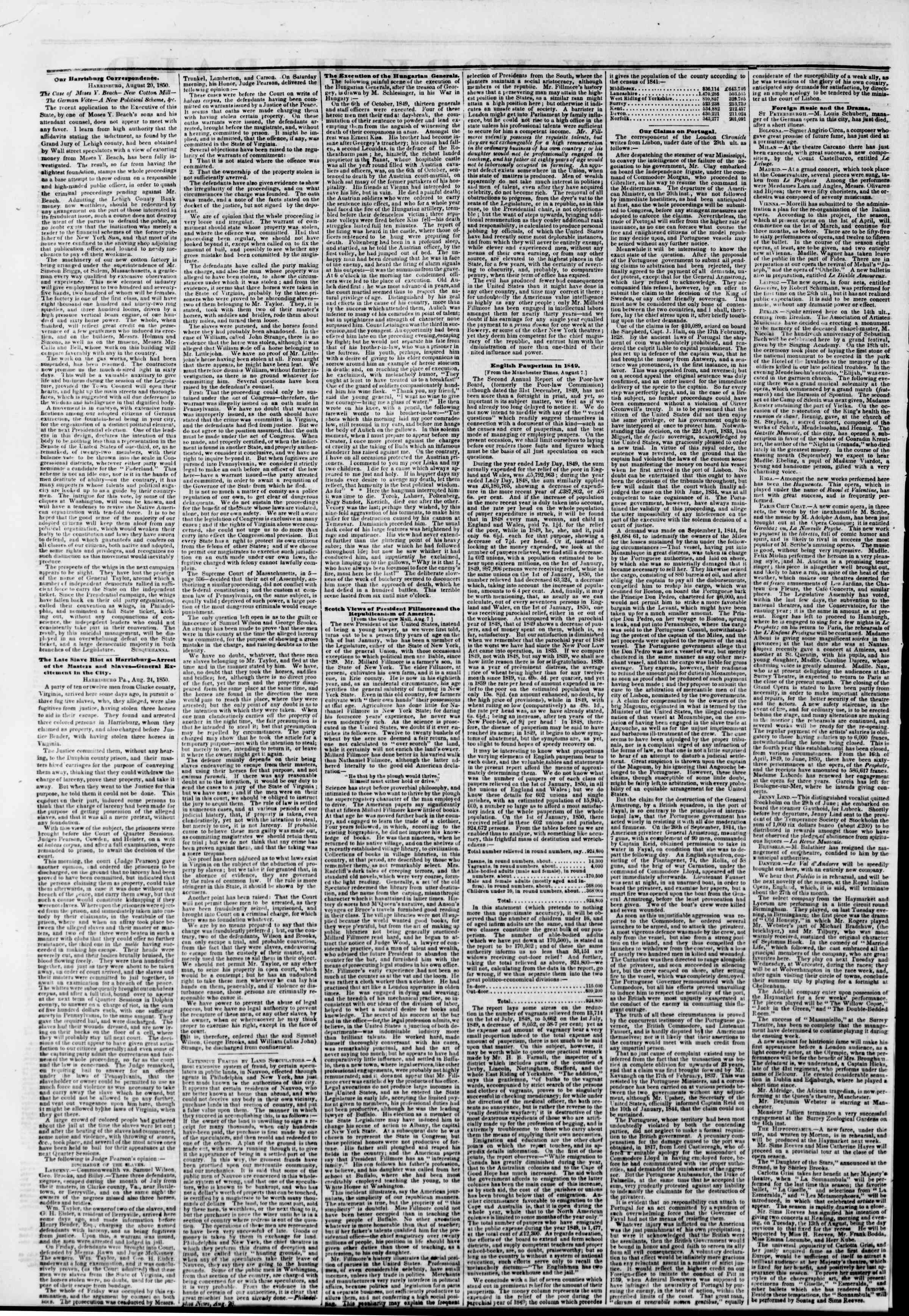 Newspaper of The New York Herald dated August 27, 1850 Page 2