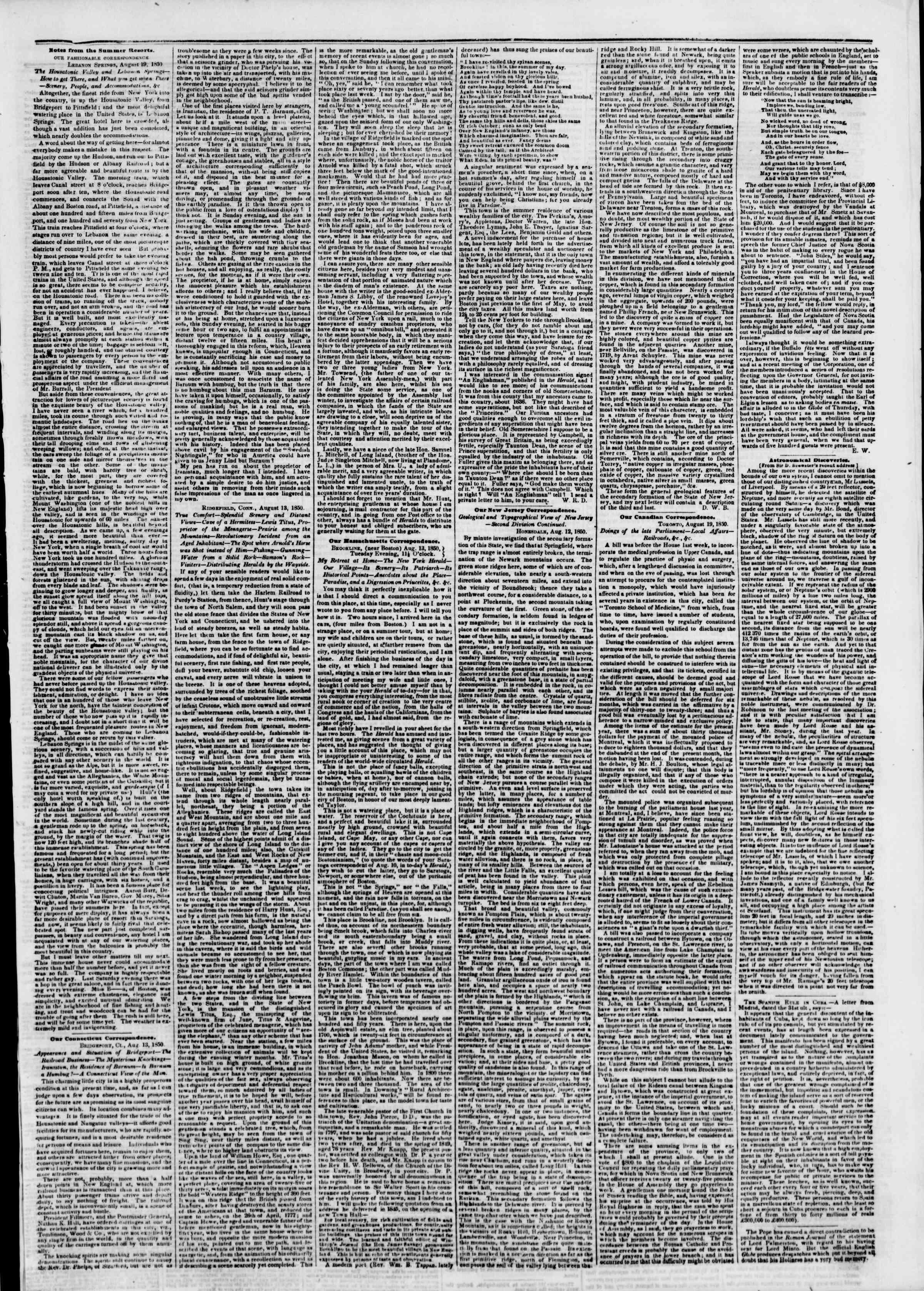 27 Ağustos 1850 tarihli The New York Herald Gazetesi Sayfa 3