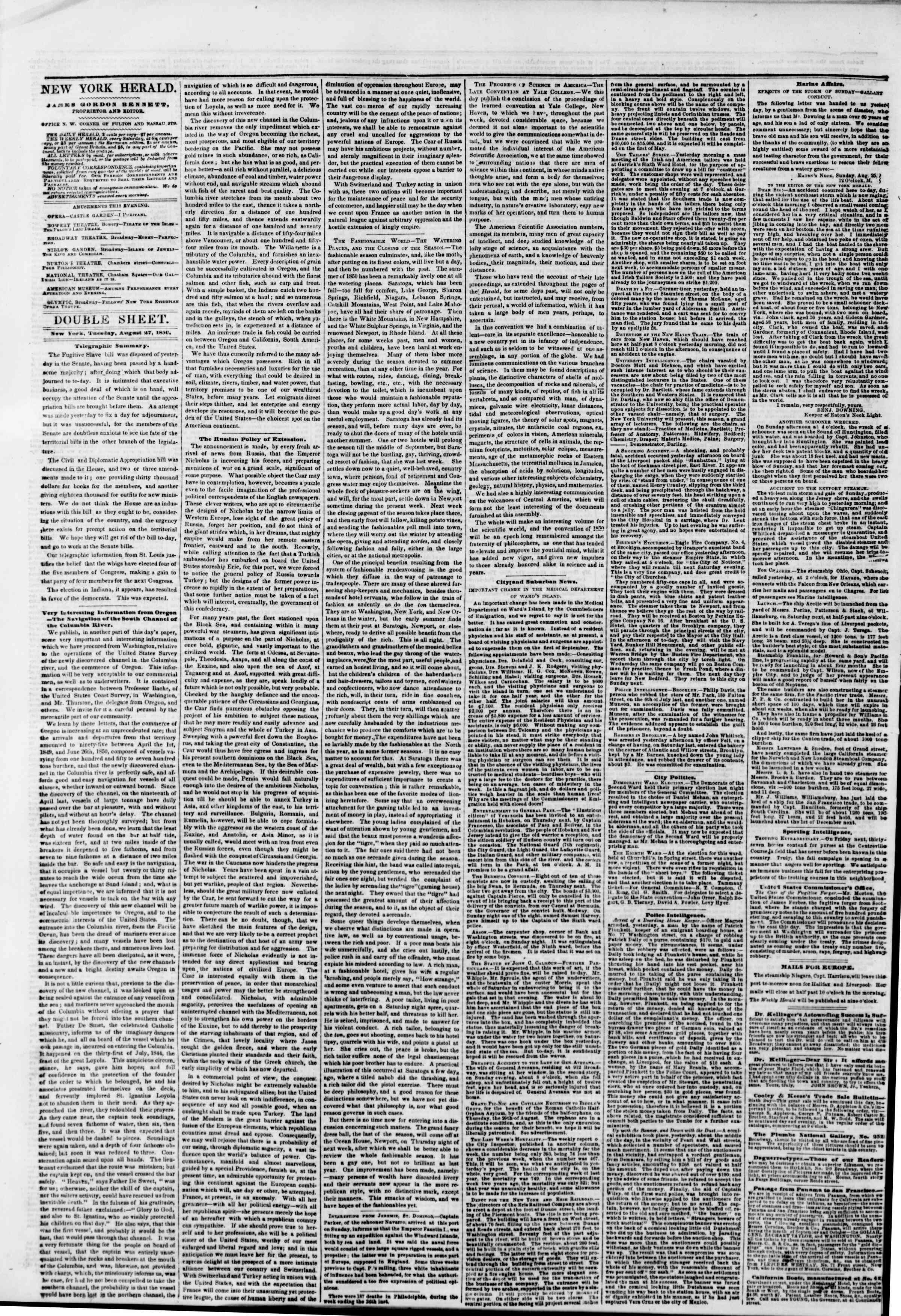 Newspaper of The New York Herald dated August 27, 1850 Page 4