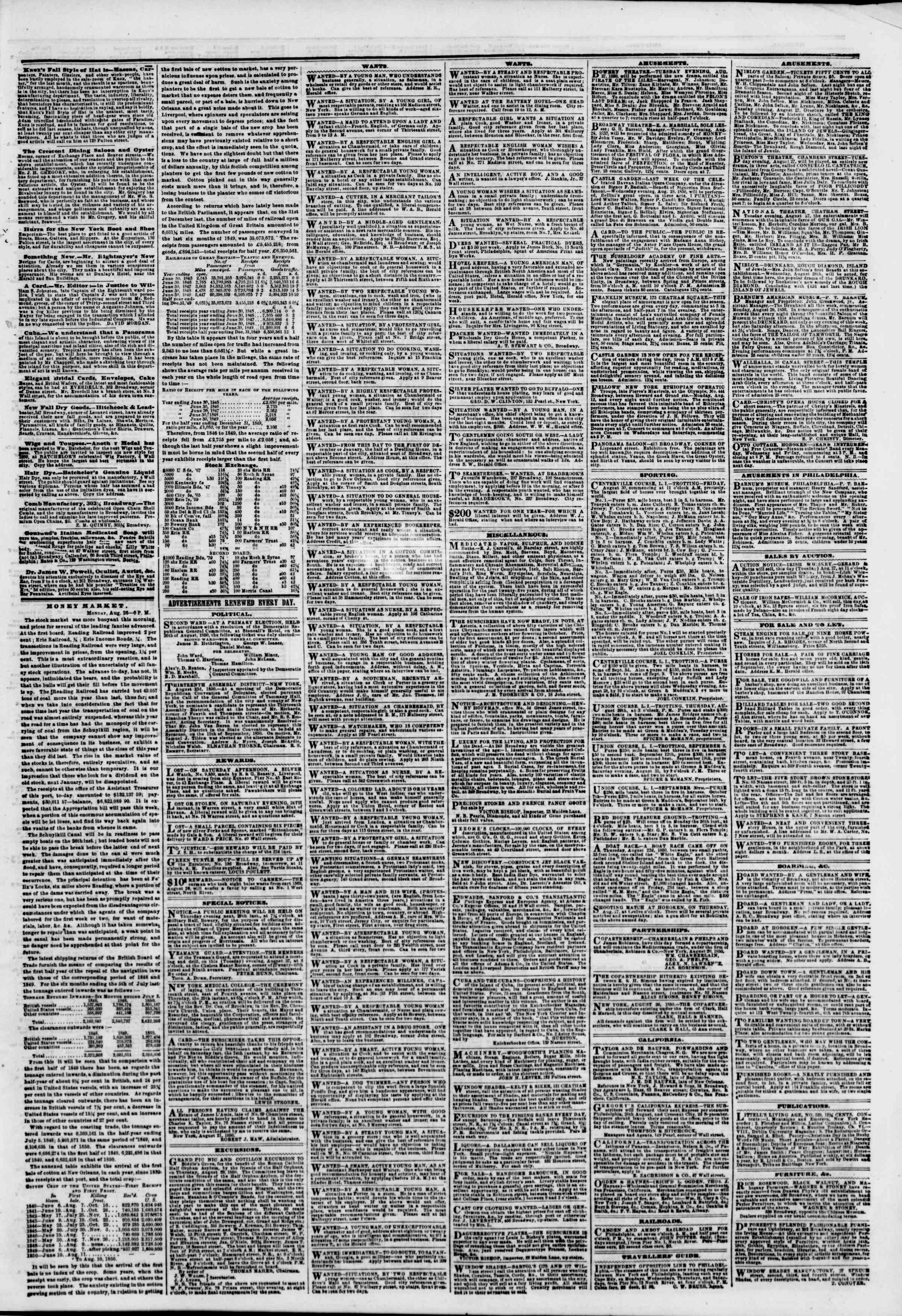 Newspaper of The New York Herald dated August 27, 1850 Page 5