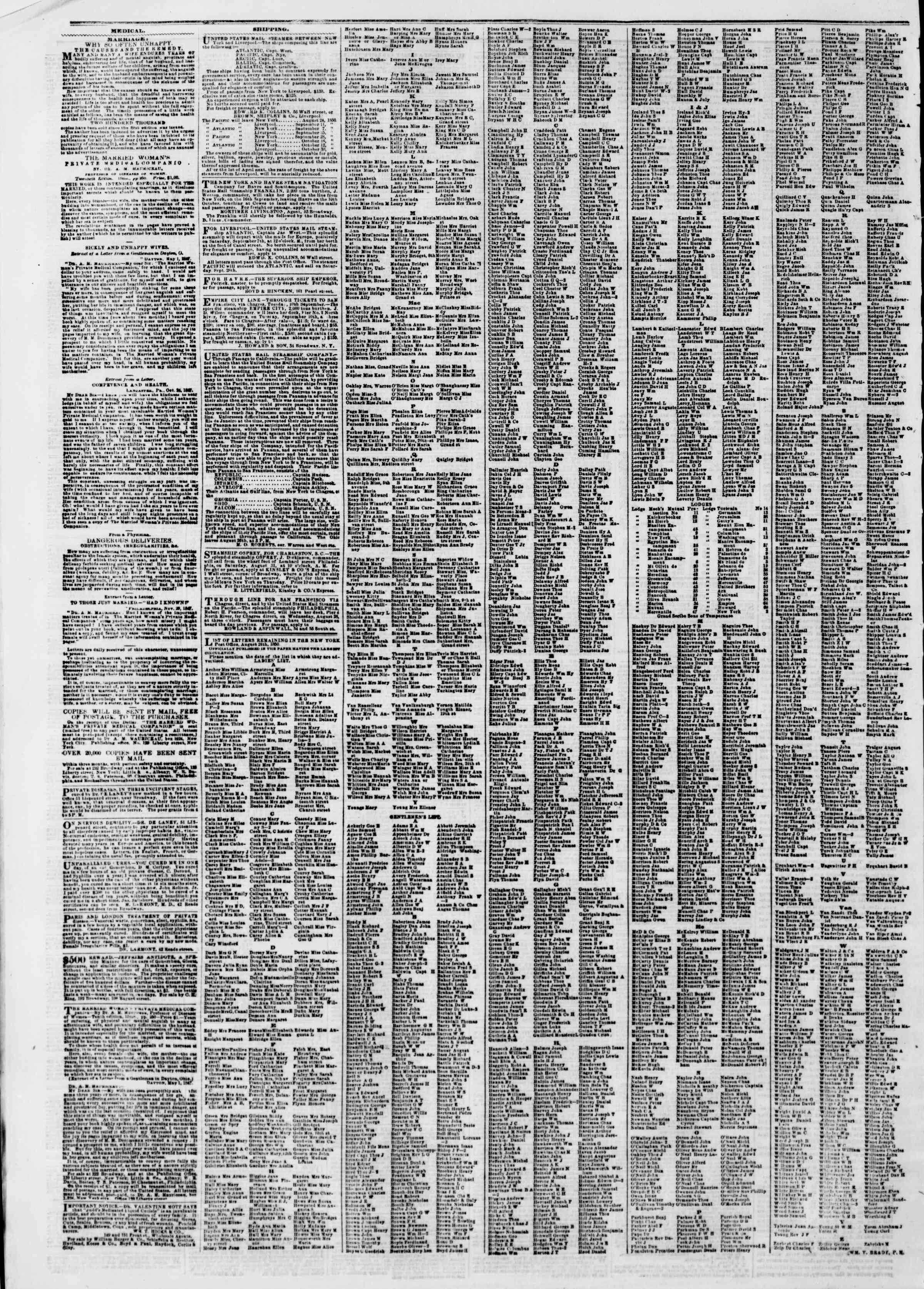 Newspaper of The New York Herald dated August 27, 1850 Page 6