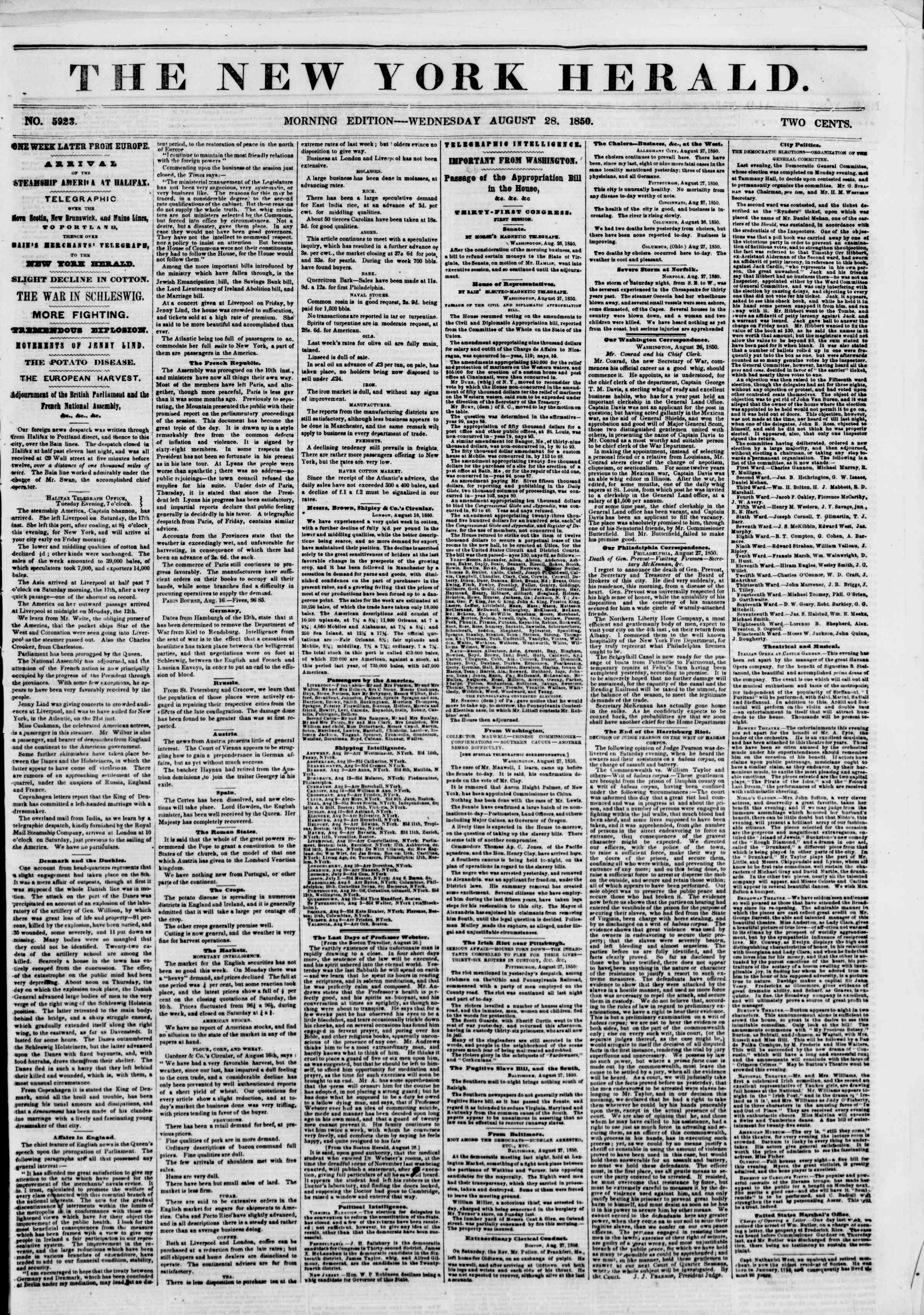 Newspaper of The New York Herald dated August 28, 1850 Page 1