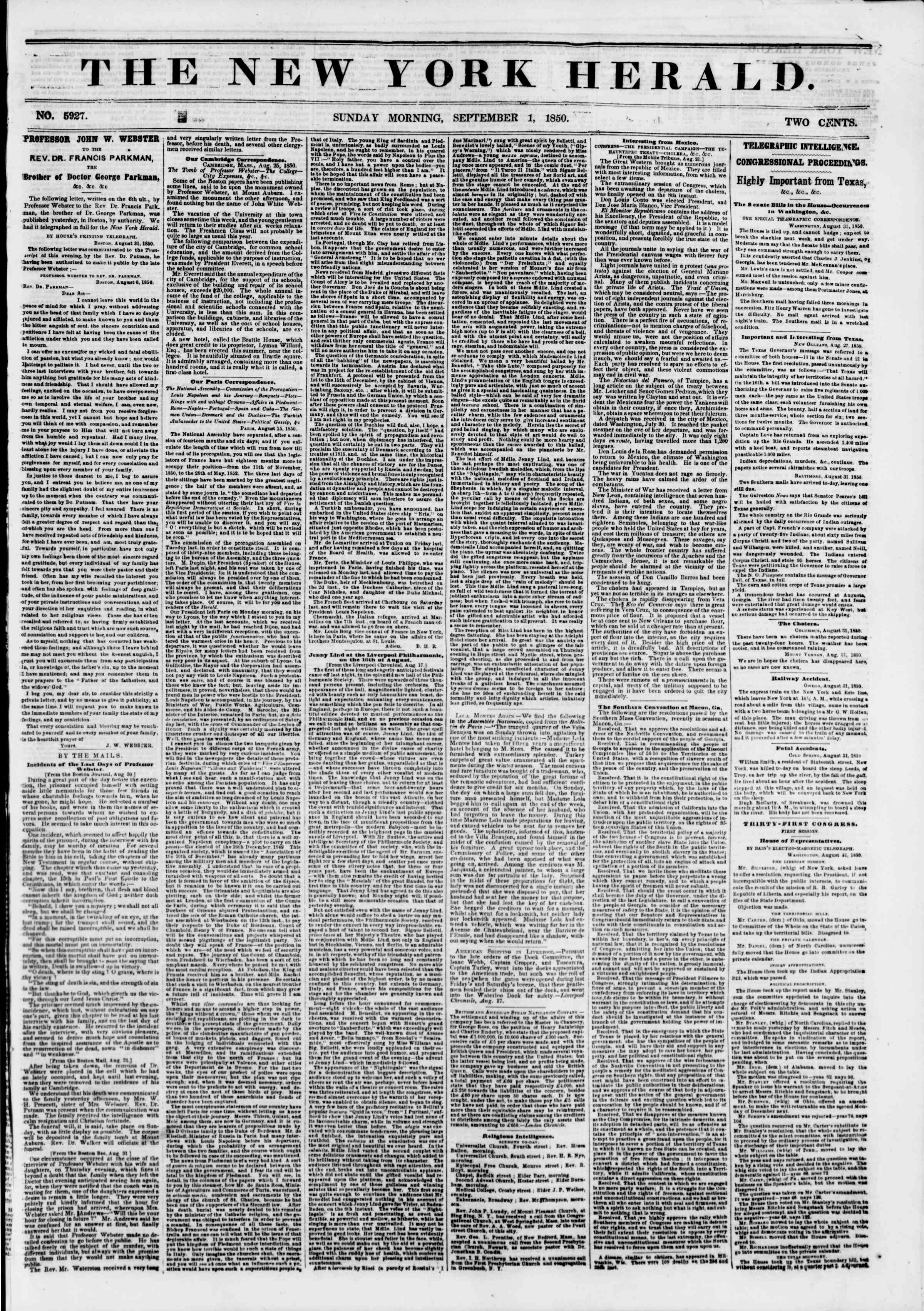 Newspaper of The New York Herald dated September 1, 1850 Page 1