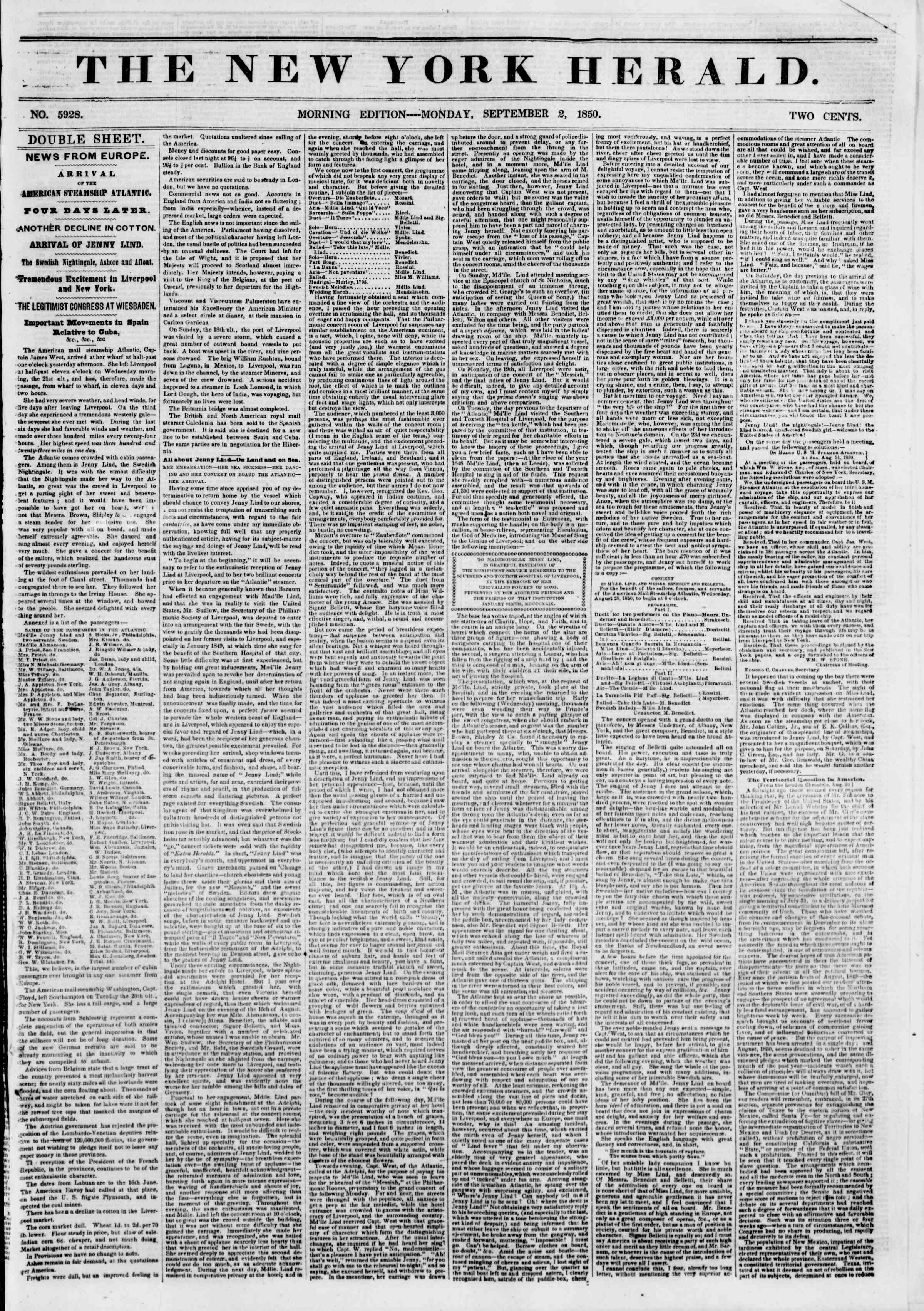 Newspaper of The New York Herald dated September 2, 1850 Page 1