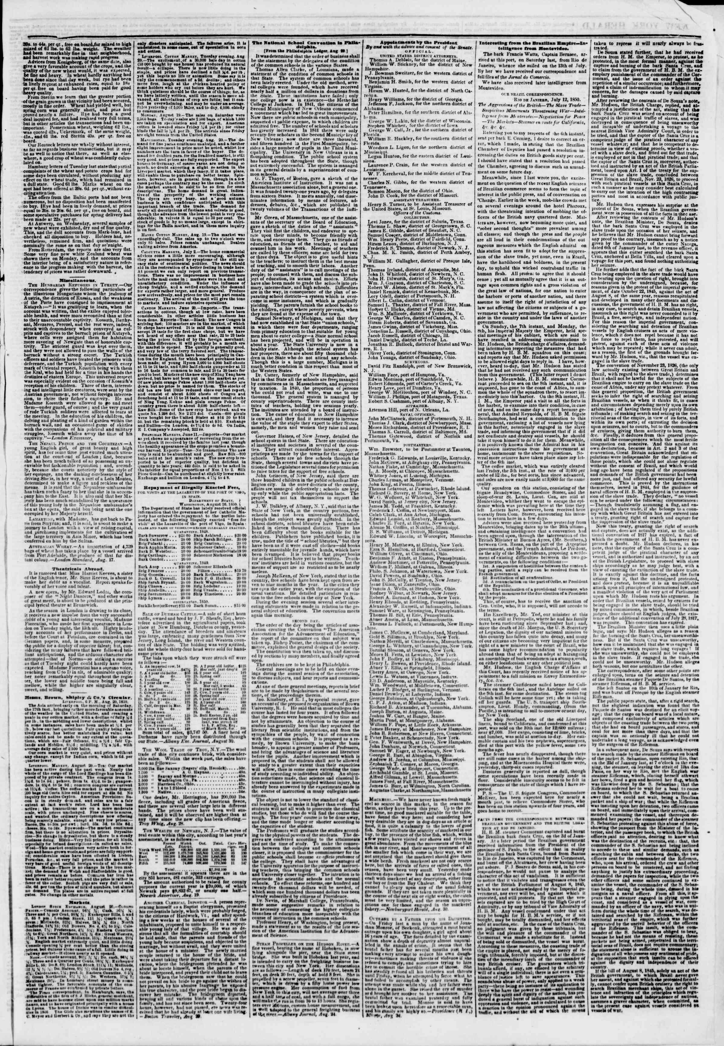 Newspaper of The New York Herald dated September 2, 1850 Page 3