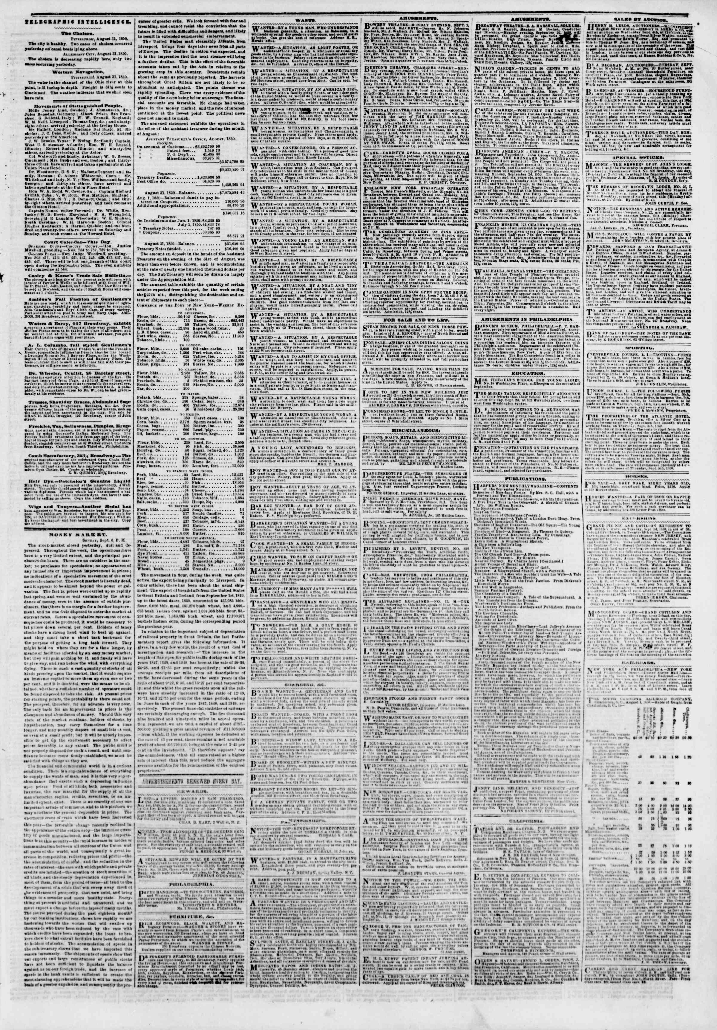 Newspaper of The New York Herald dated September 2, 1850 Page 7