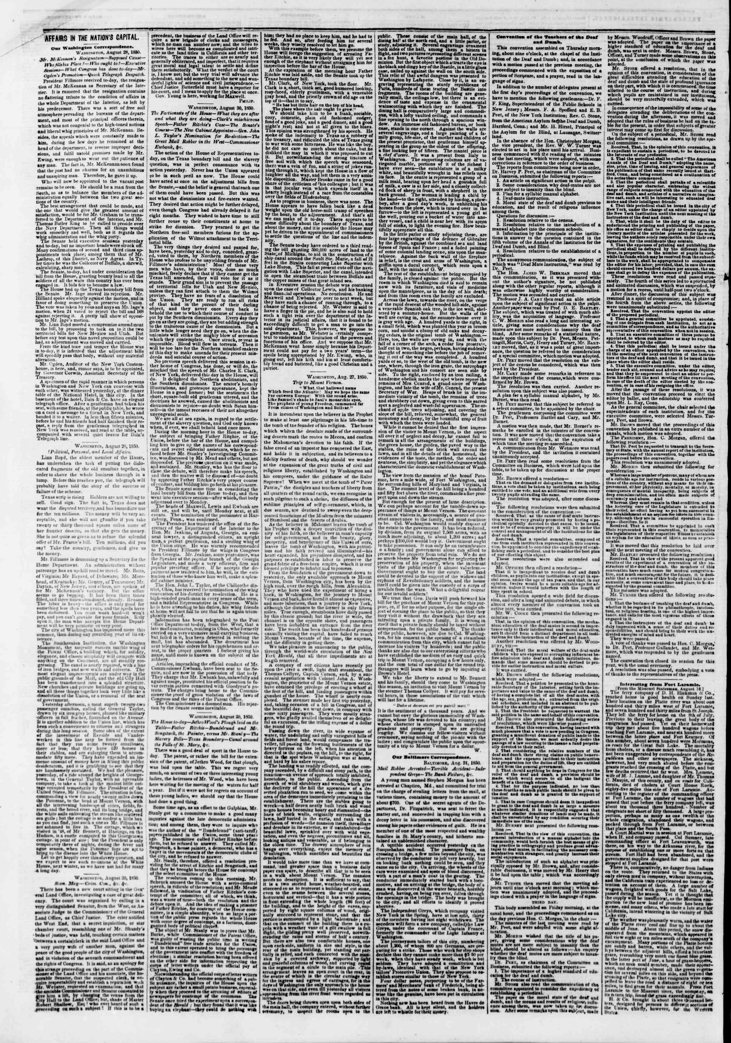Newspaper of The New York Herald dated September 2, 1850 Page 8