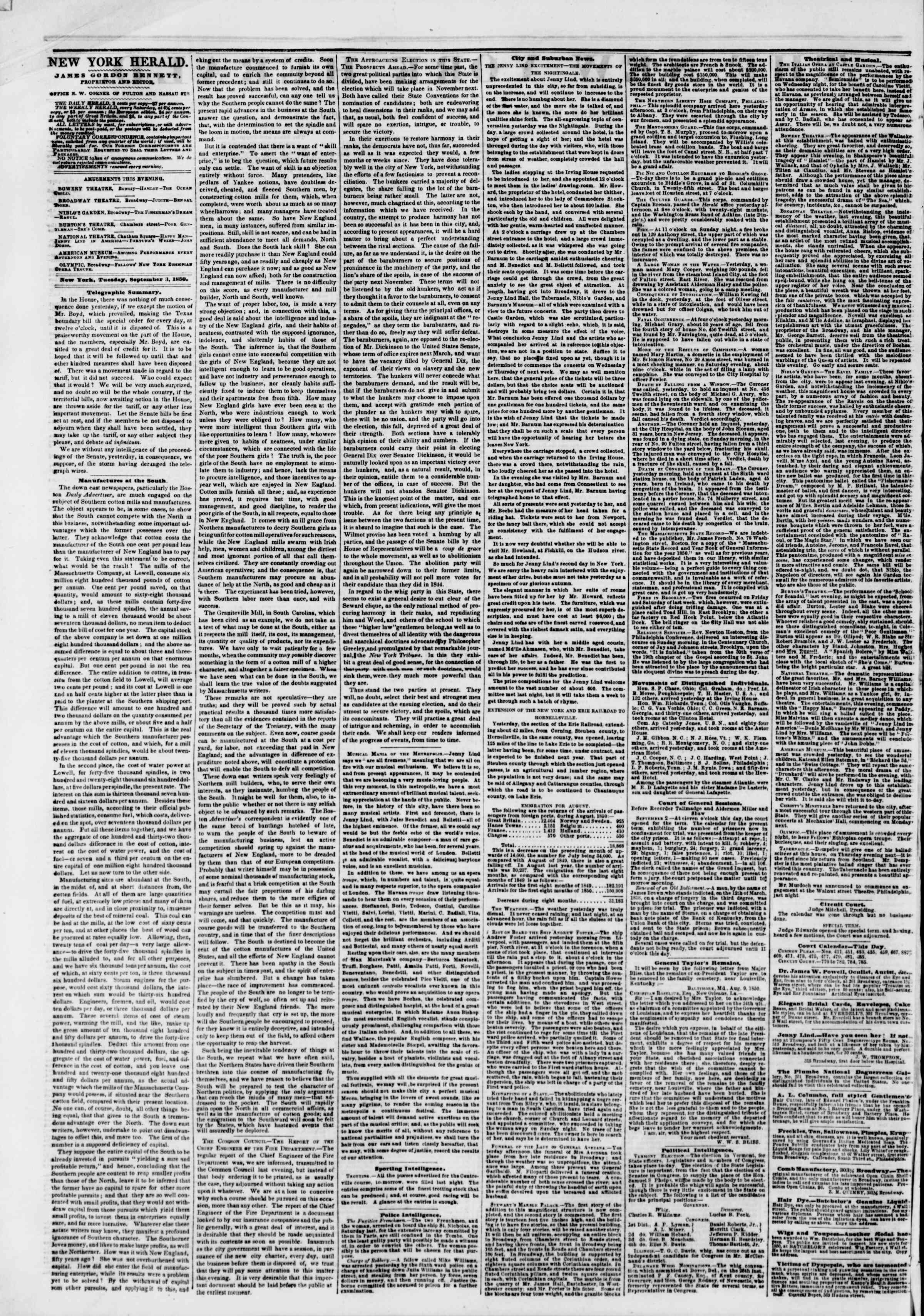 Newspaper of The New York Herald dated September 3, 1850 Page 2