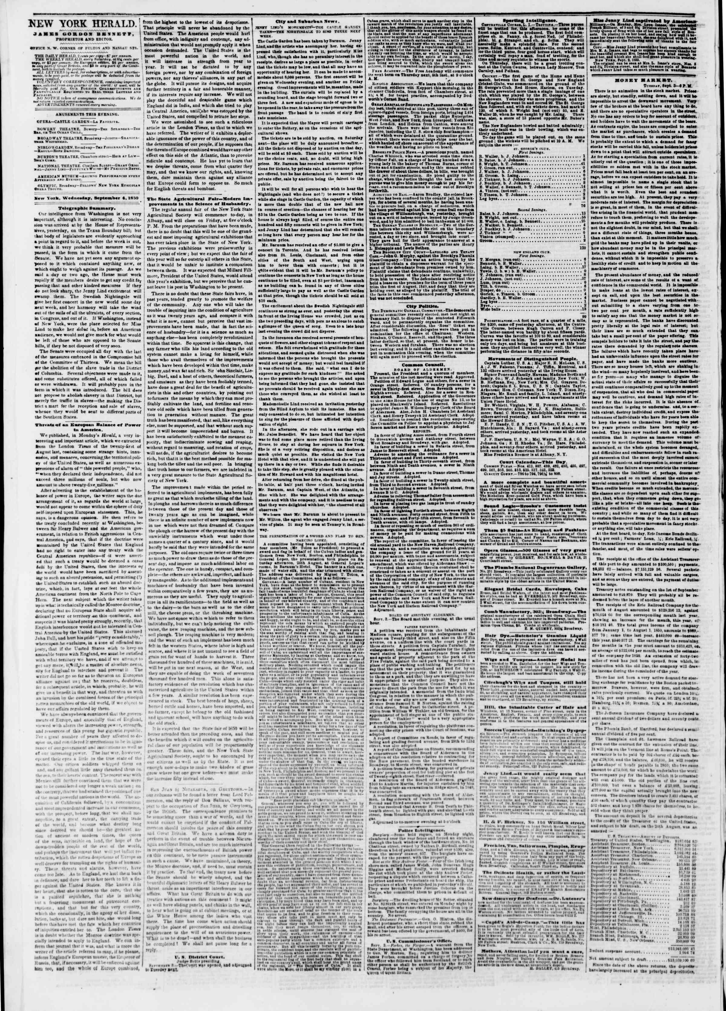 Newspaper of The New York Herald dated September 4, 1850 Page 2