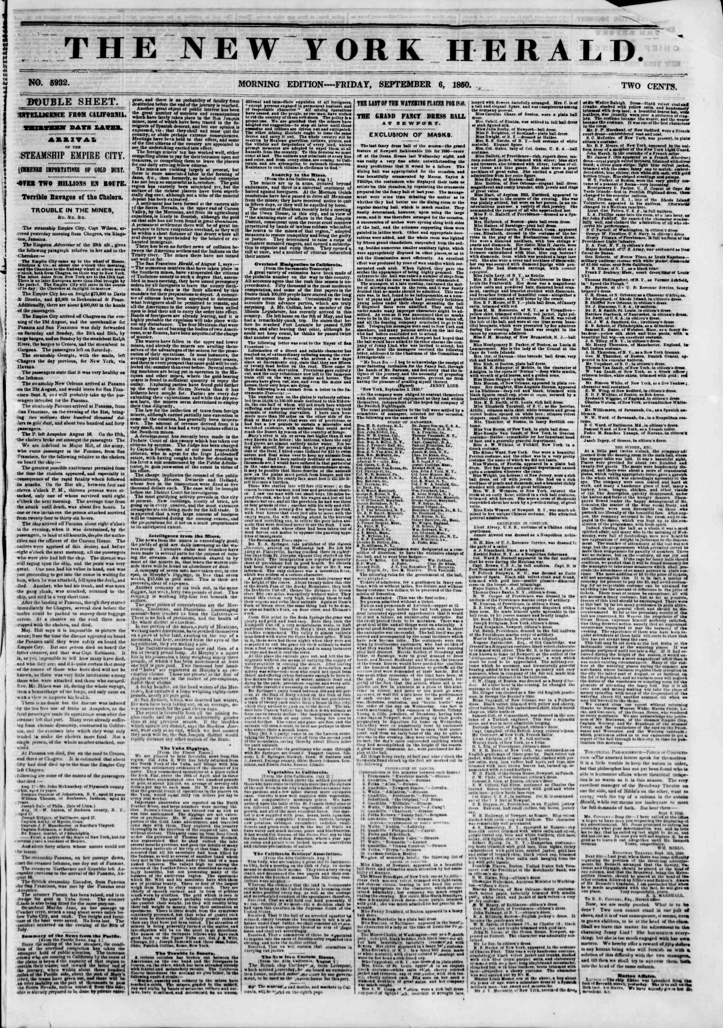 Newspaper of The New York Herald dated September 6, 1850 Page 1